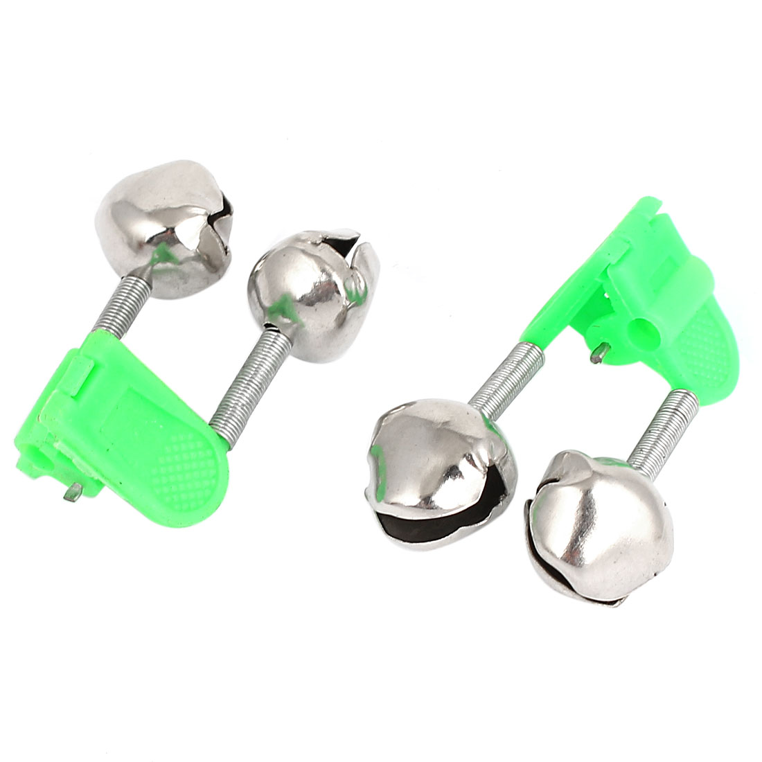 Fishing Rod Plastic Clip Clamp Metal Double Bell Ring Alarm Alert Green 2Pcs