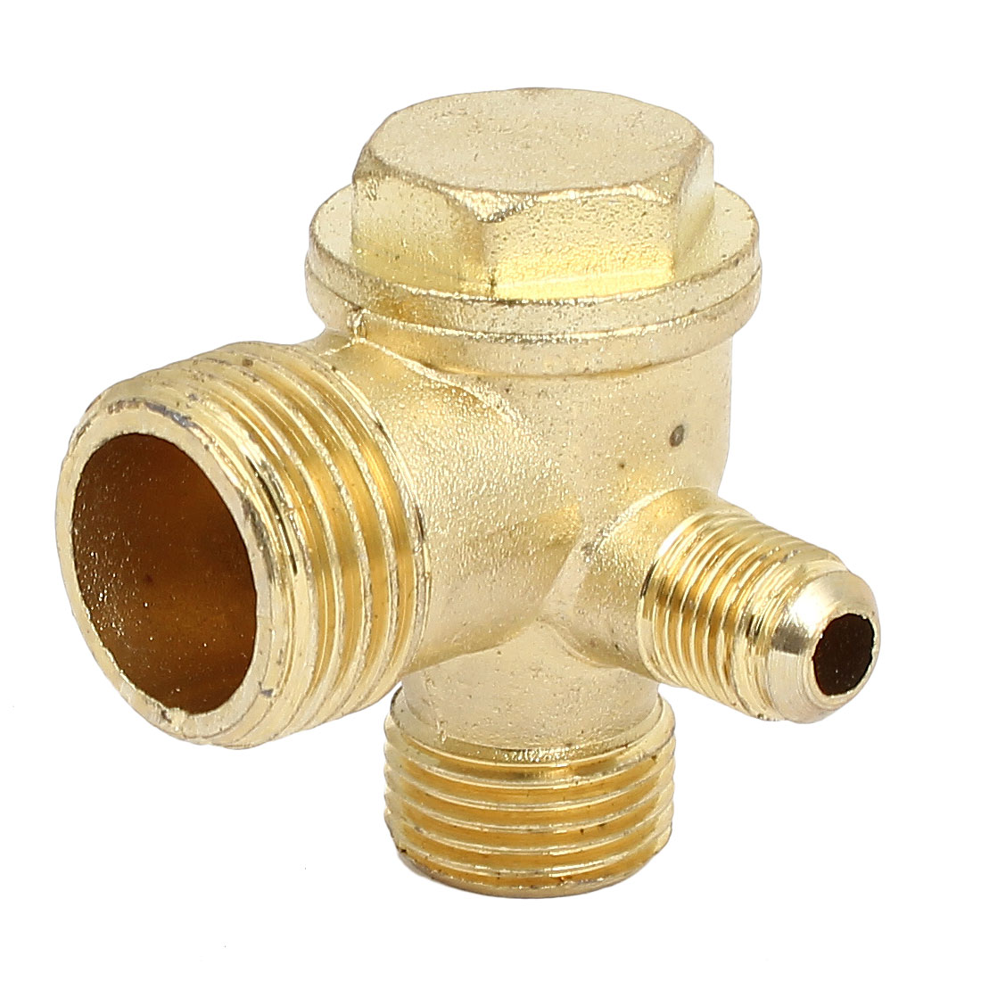 3/8BSP x 1/2BSP x 1/4BSP Male Thread Metal Air Compressor Check Valve Gold Tone