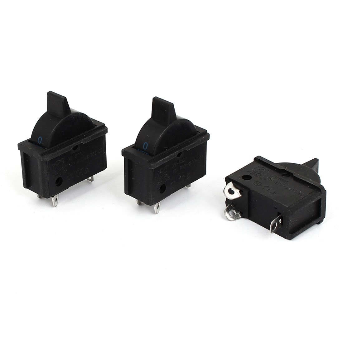 250V 10A SPDT 3 Position 3 Terminal Hair Dryer Soldering Boat Rocker Switch 3Pcs