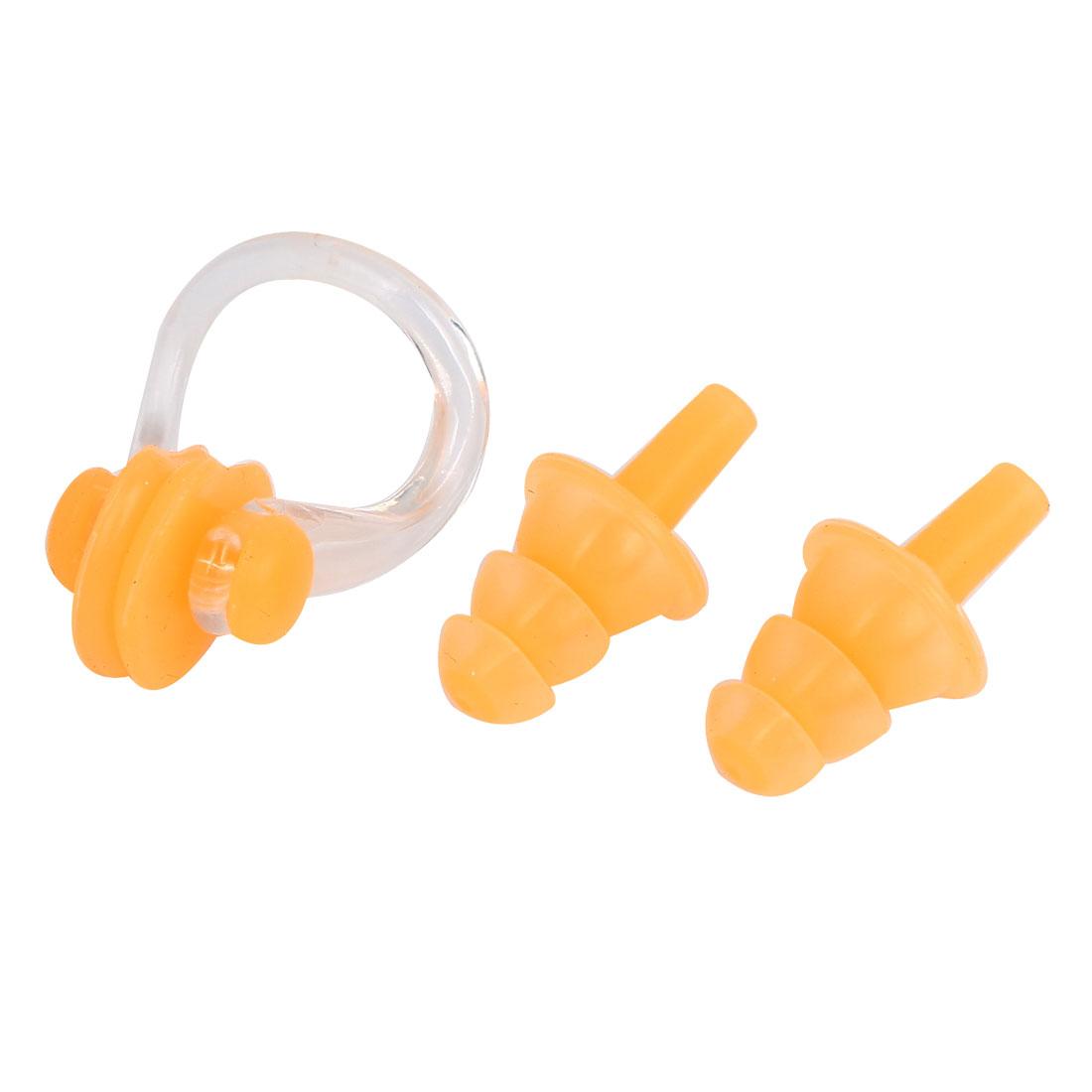 Swimming Water Sport Swim Protection Soft Earplugs Nose Clip Set Orange w Case
