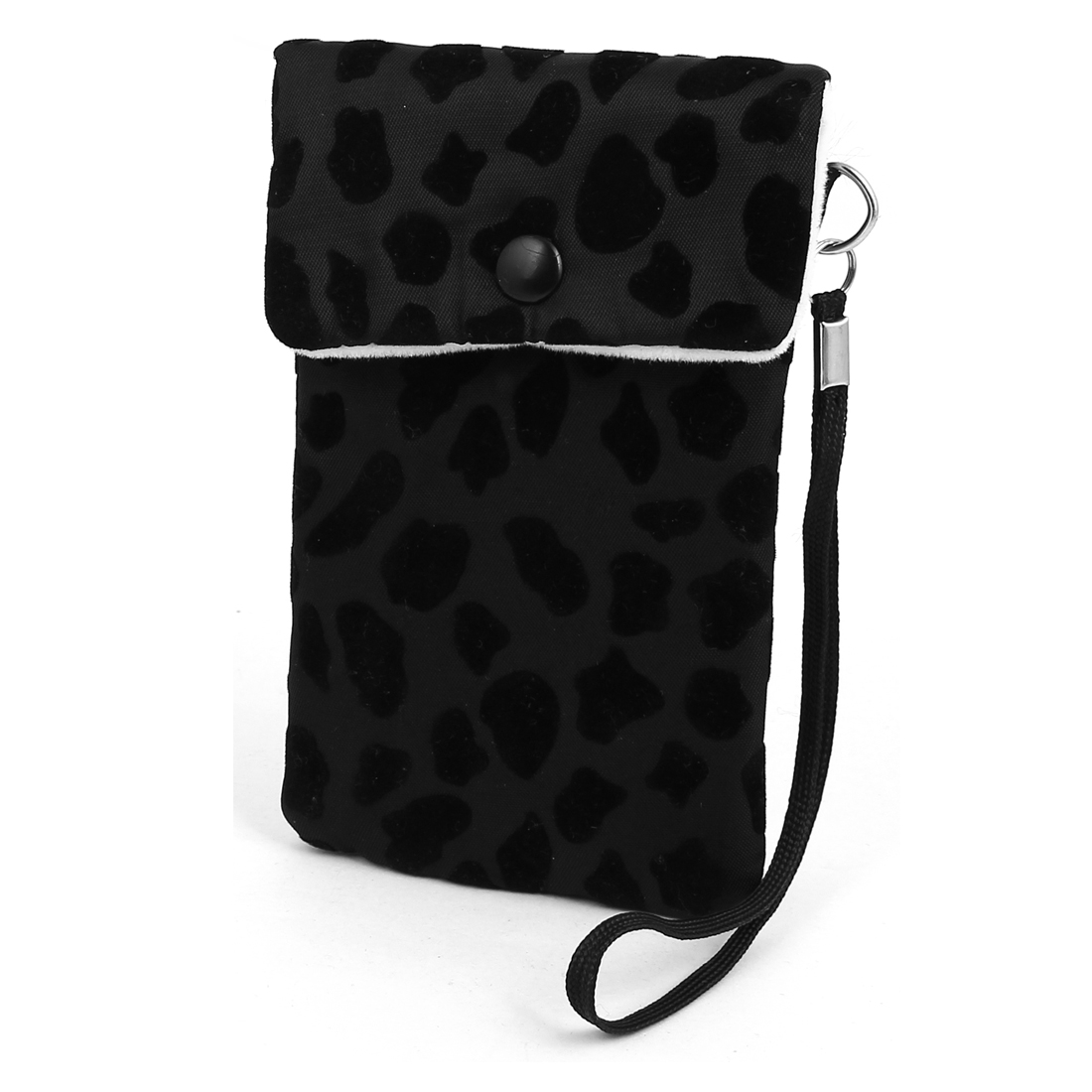 Leaopard Pattern Mobile Cell Phone Pocket Purse Wallet Pouch Case Bag Black