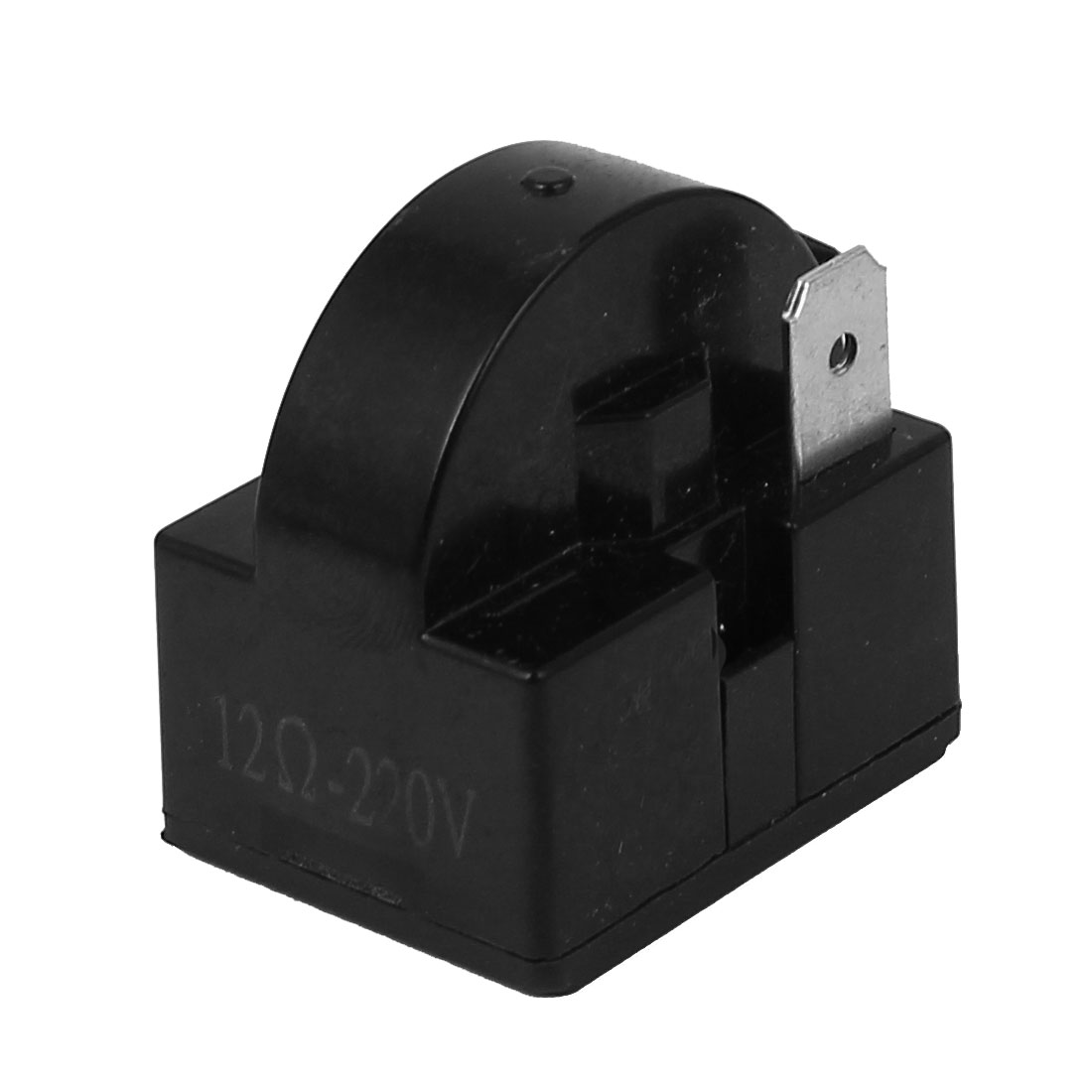 Plastic Shell 12 Ohm Resistance 2 Terminals Refrigerator PTC Starter Relay Black