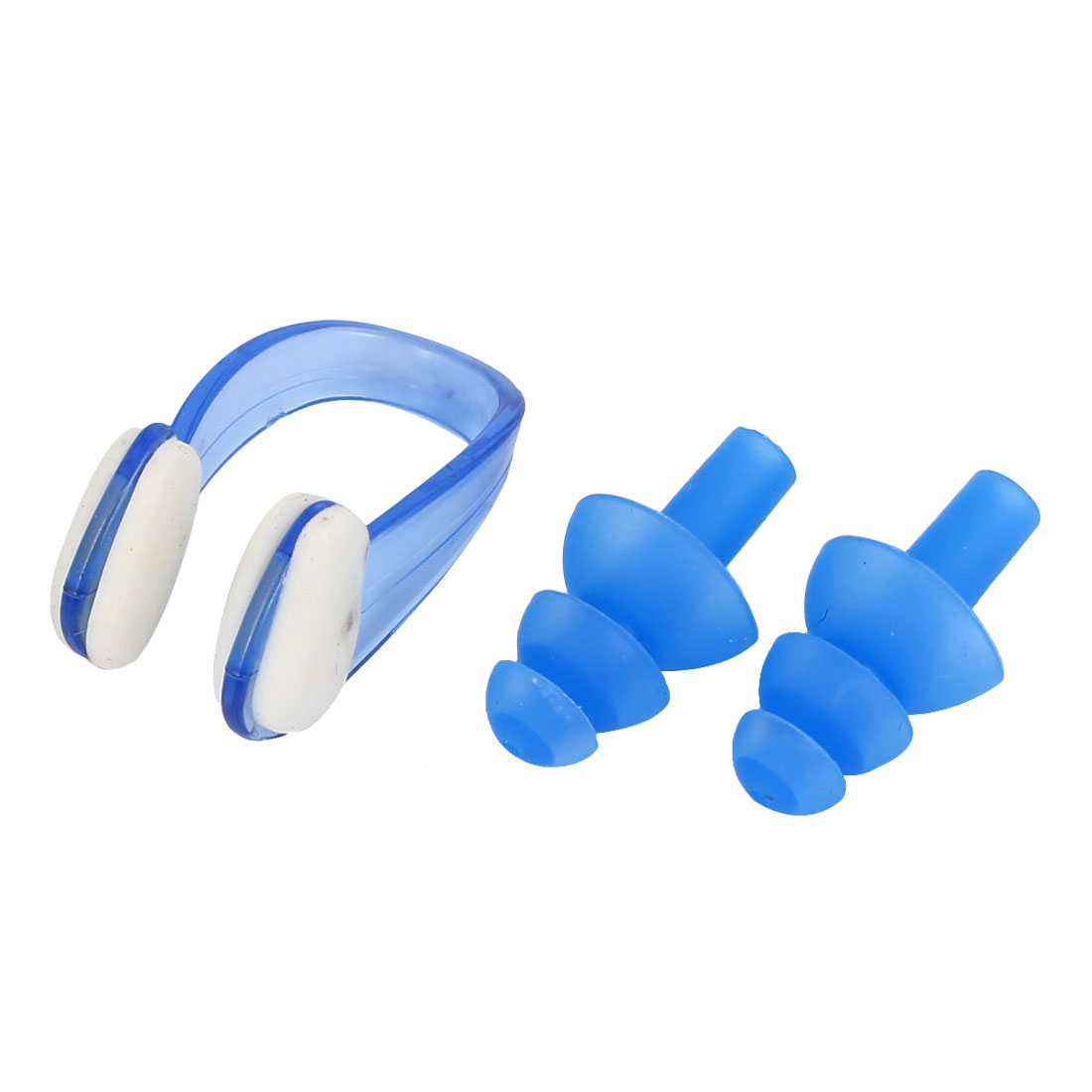 Swimming Water Sport Swim Protection Soft Earplugs Nose Clip Set Blue w Case
