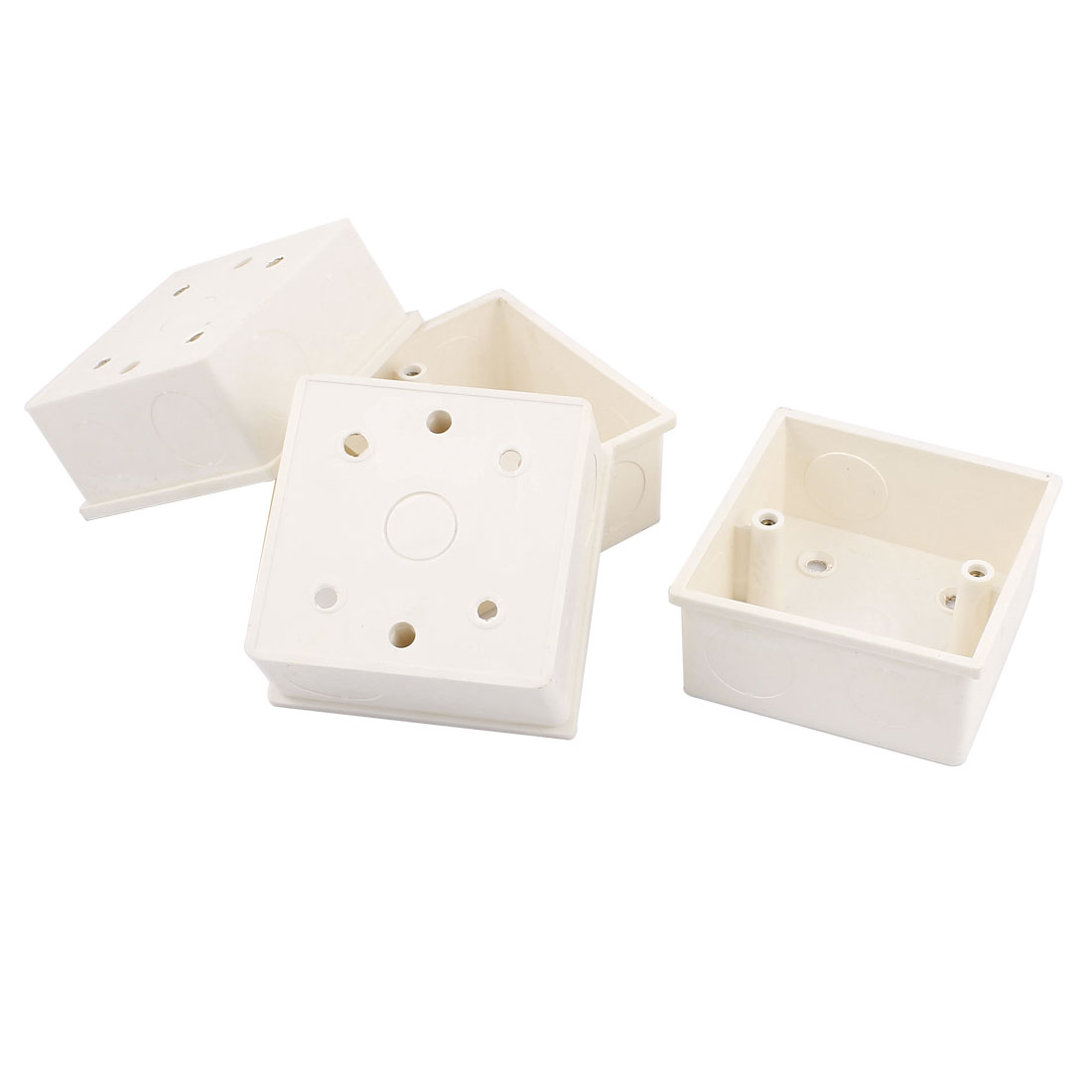 4pcs 85mmx85mmx40mm White PVC Cable Connect Flush Mount Back Box for Wall Socket