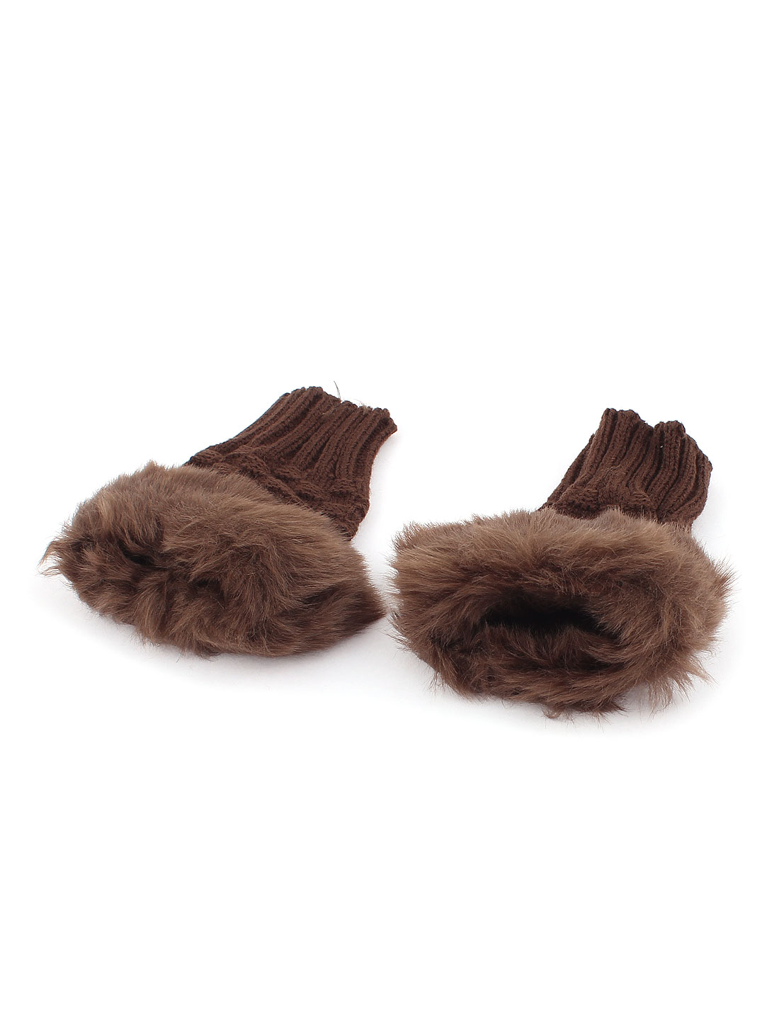 Lady Winter Warmer Faux Fur Decor Elastic Knitted Computer Fingerless Gloves Brown Pair