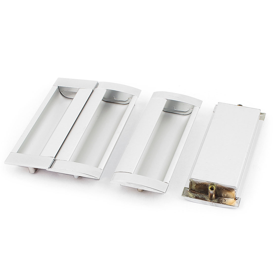 4pcs Metal Rectangle Shape Concealed Drawer Door Finger Insert Recessed Flush Pull Handle