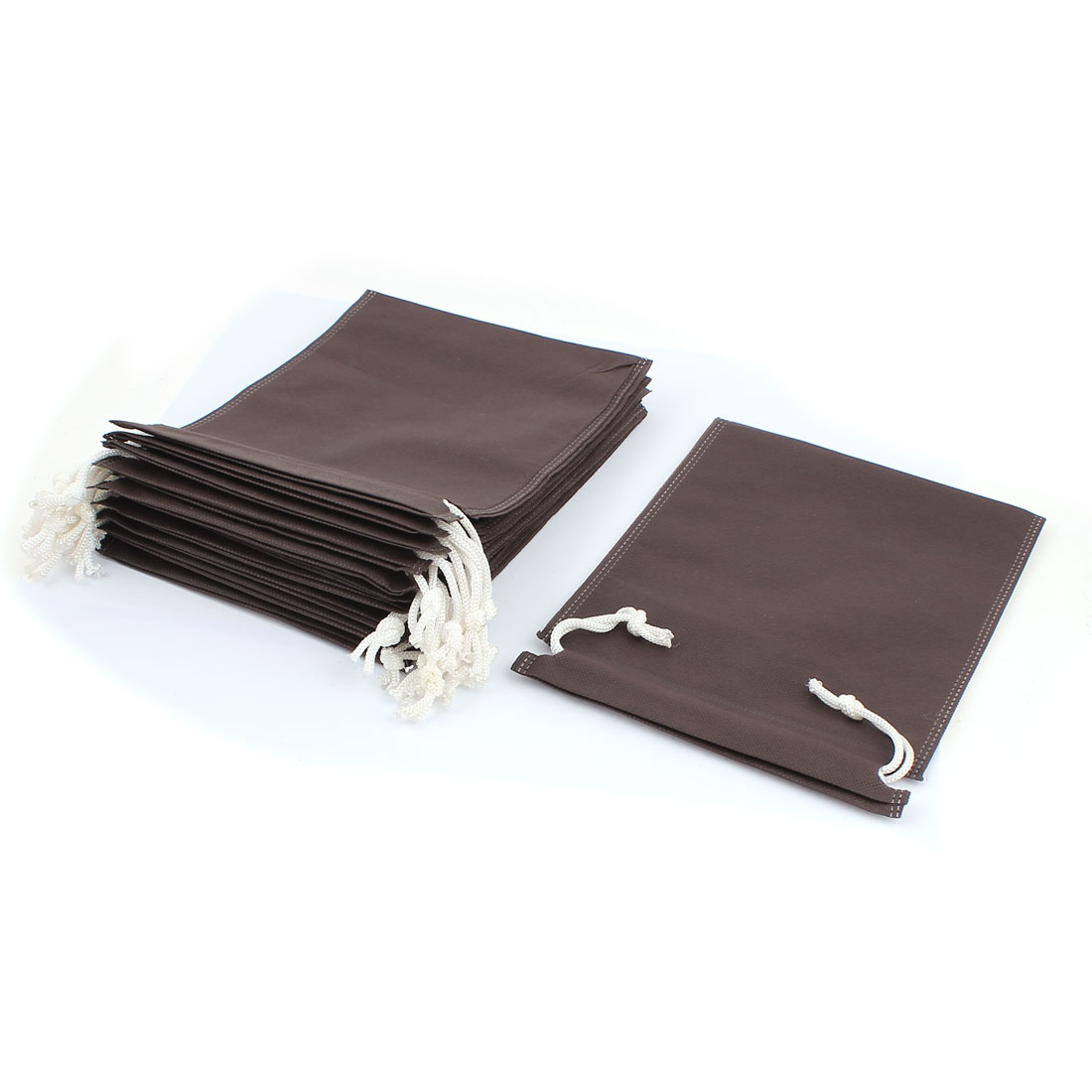 14pcs Coffe Color Non-woven Fabric Dust Cover Storage Drawstring Bag Pouch for Clothes Shoes