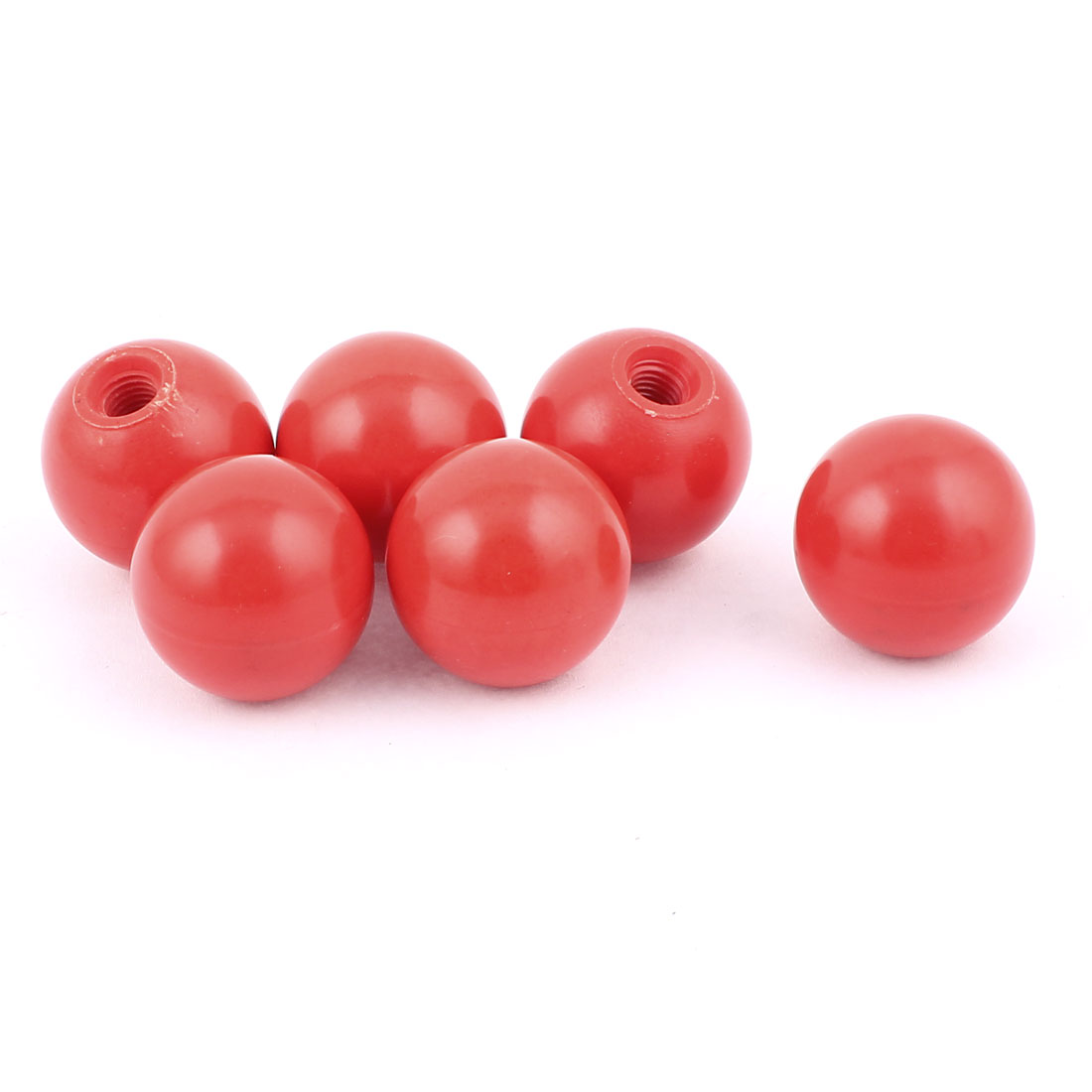 6pcs M7 Threaded 32mm Dia Plastic Round Gear Shift Lever Ball Knob Machine Handle Red