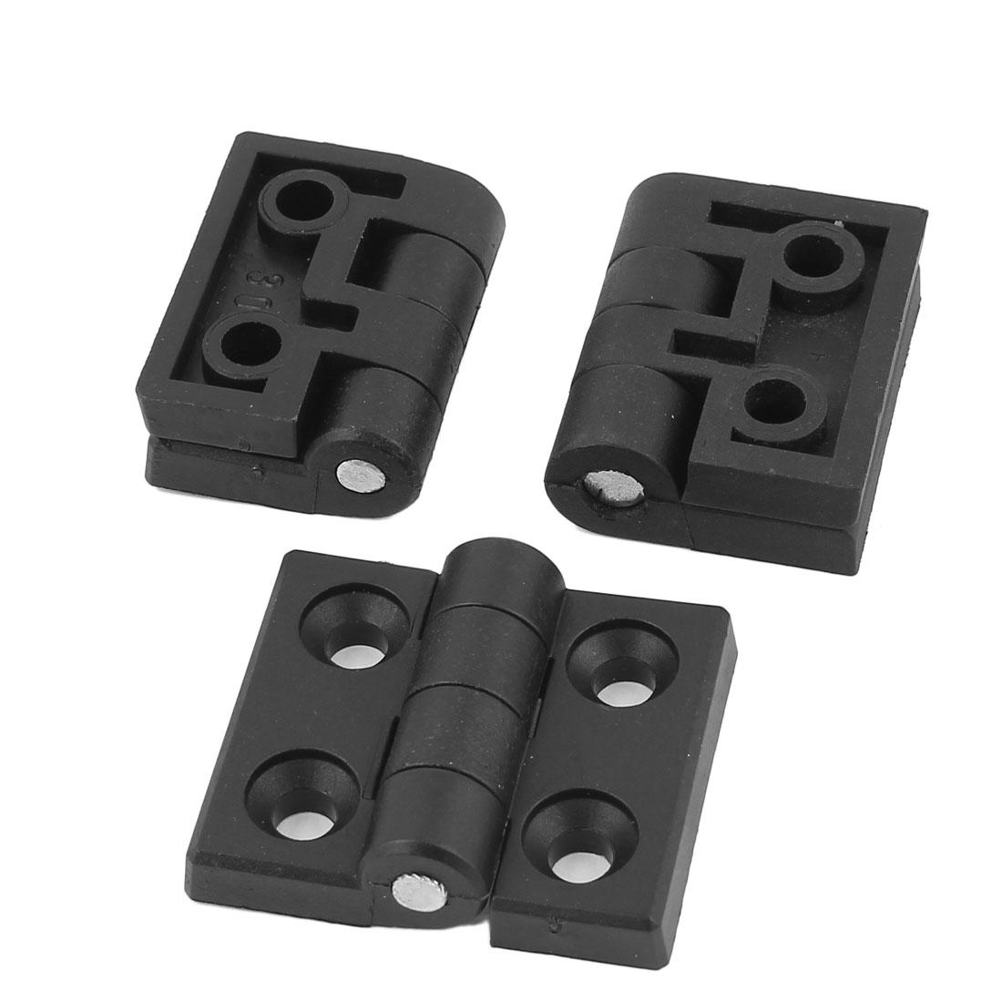 3pcs 50mmx45mm Black Plastic Folding Cabinet Cupboard Gate Door Flap Butt Ball Bearing Hinge