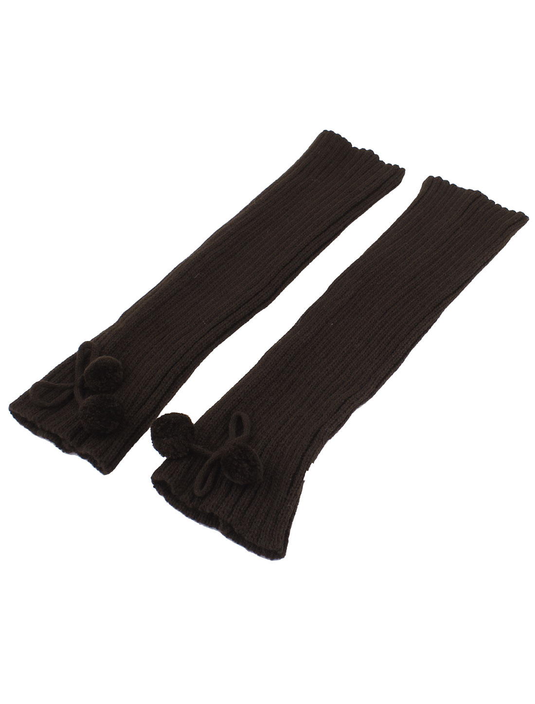 Woman Pom Pom Decor Ribbed Stretchy Leg Warmers Leggings Socks Brown Pair