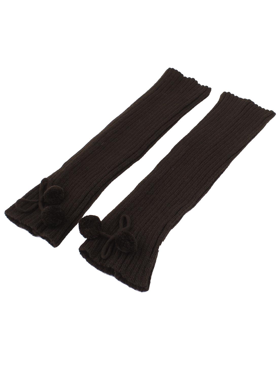 Woman Pom Pom Decor Ribbed Stretchy Leg Warmers Leggings Socks Brown Pair