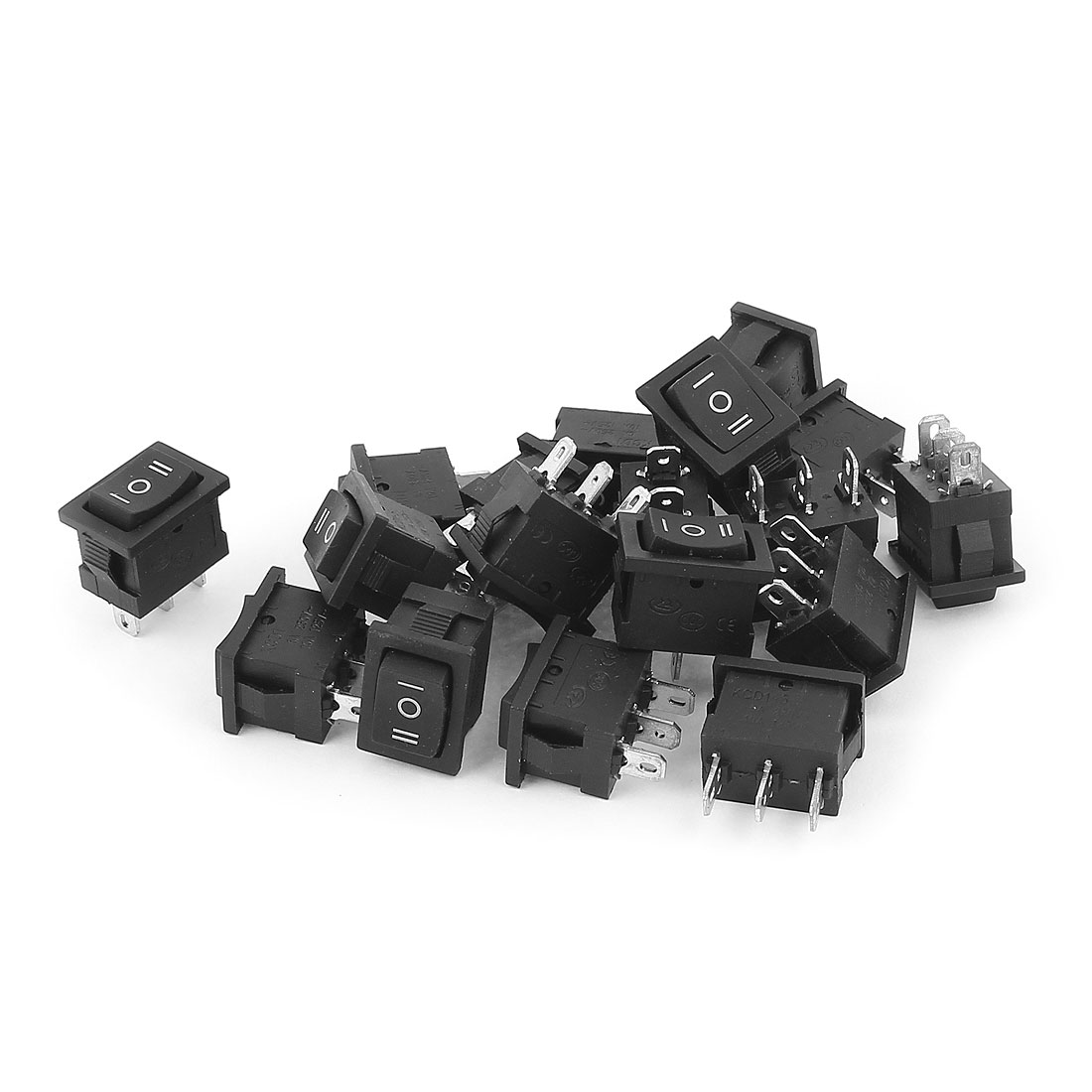 18pcs SPDT 3 Terminals Soldering 3 Position Snap in Mounted Boat Rocker Switch AC 250V 6A AC125V 10A