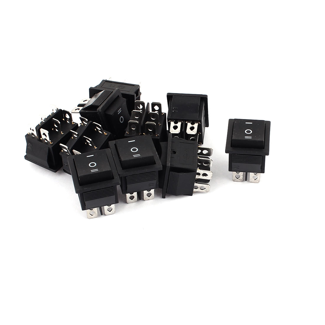 10pcs DPDT 3 Position 6 Terminal Self-Locking Rocker Boat Switch AC 250V 15A AC125V 20A