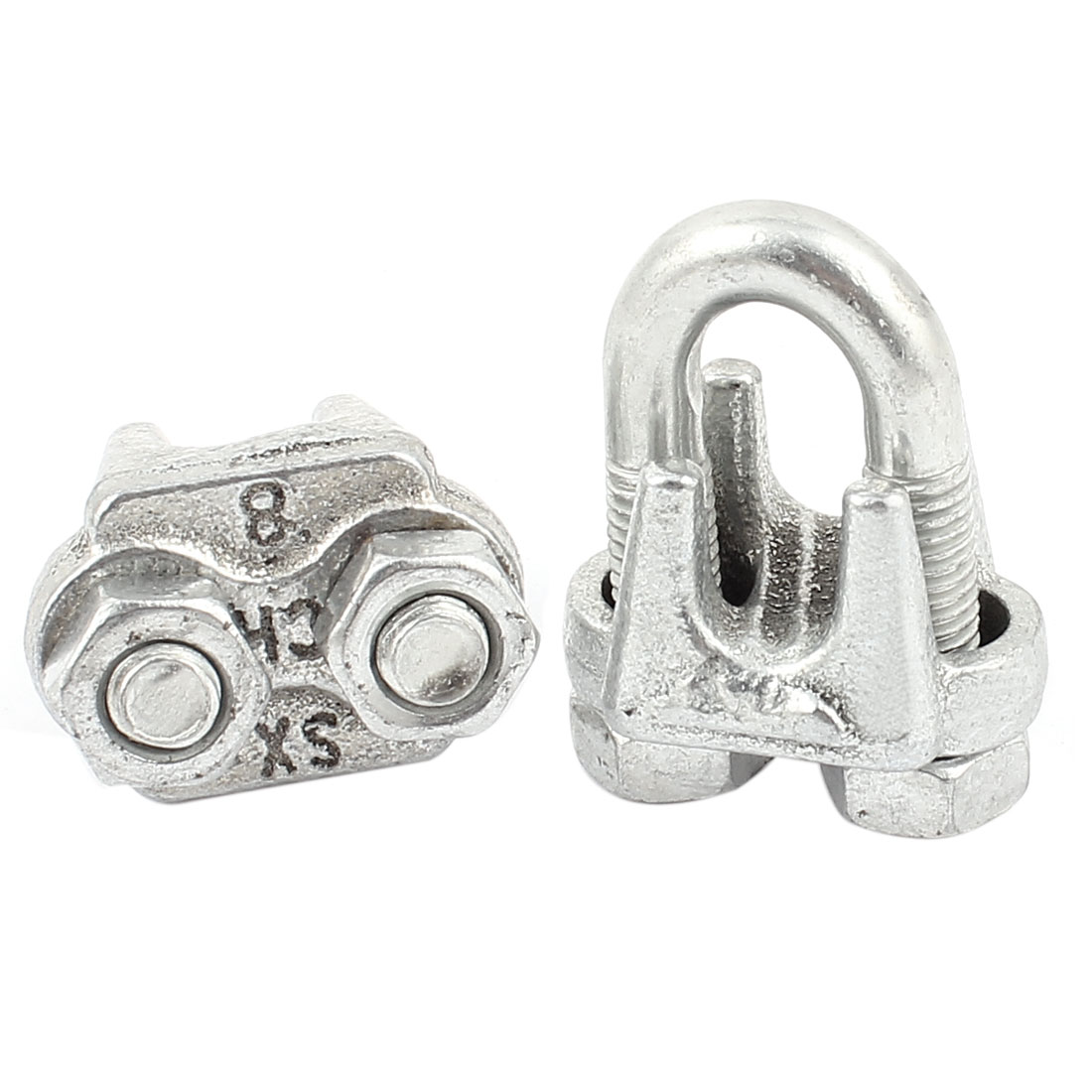 2pcs Silver Tone Metal 12mm Cable Wire Rope Clamp Clip U Bolt Saddle Fastener