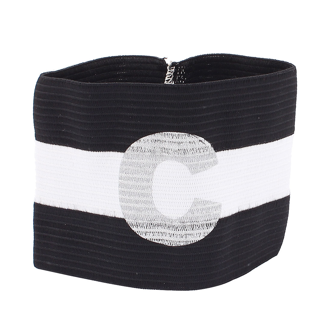White Black Stripe Design Stretchy Football Soccer Sports Match Captain Armband Sleeve Badge