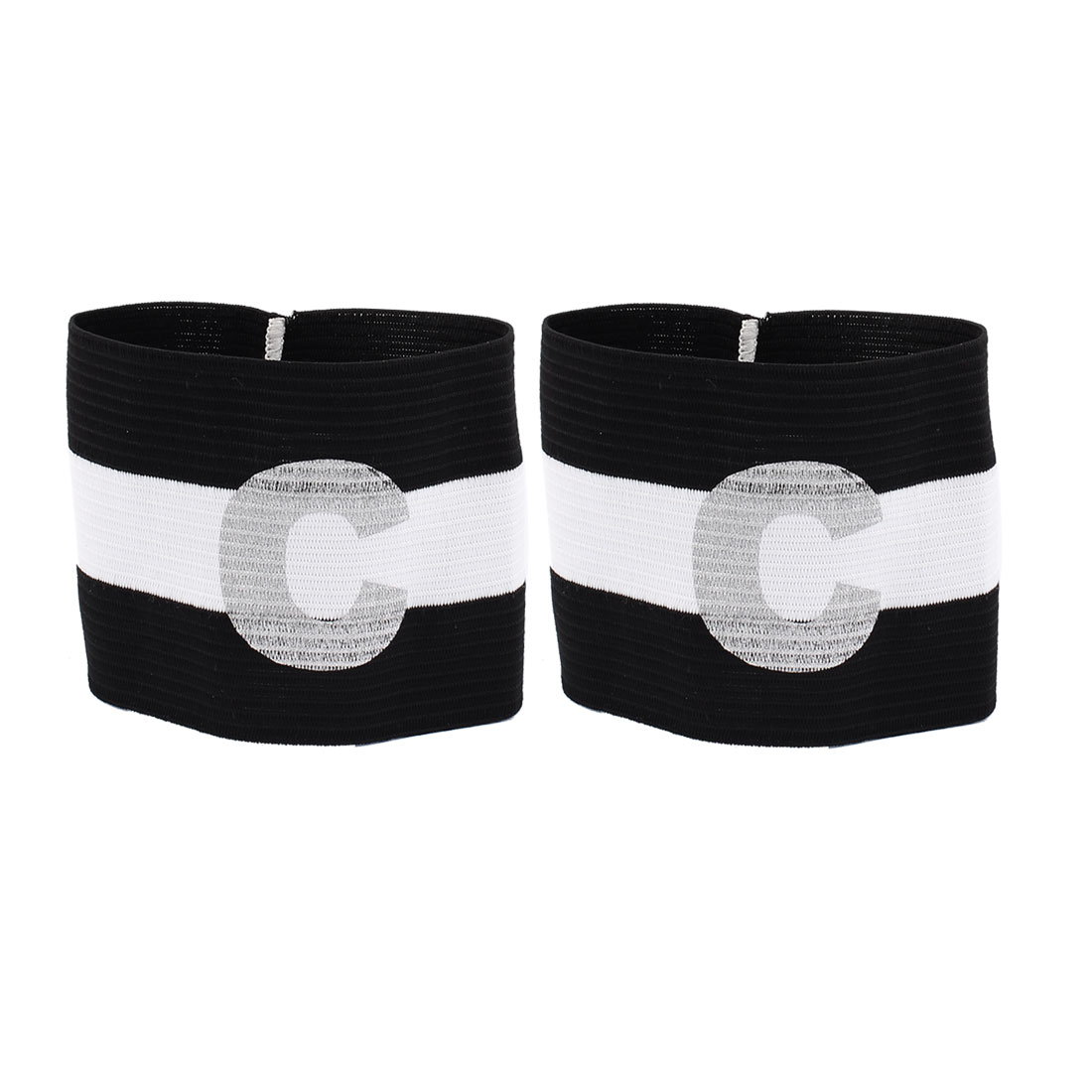 2pcs White Black C Printed Stretchy Football Soccer Sports Match Captain Armband Sleeve Badge