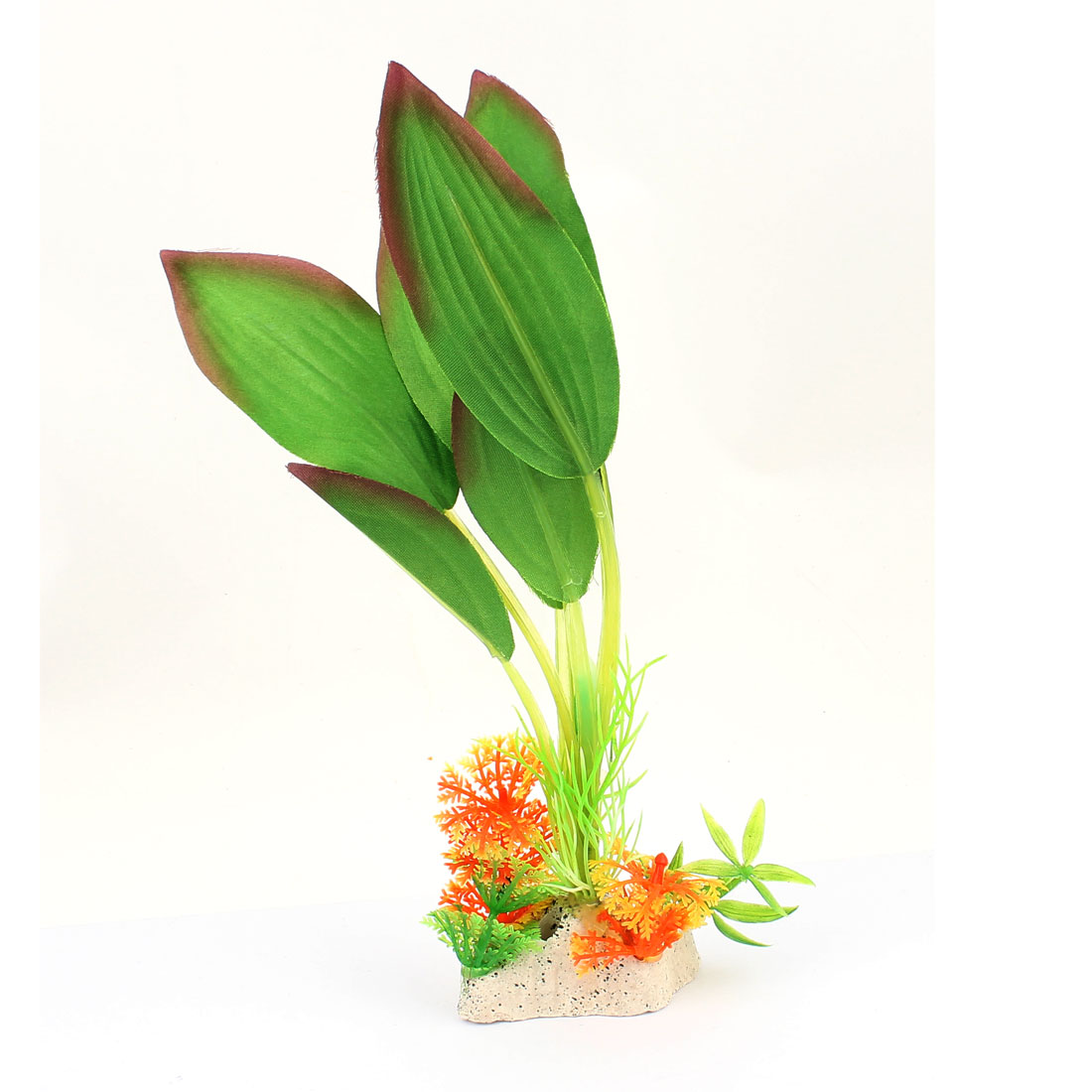 22cm Height Green Plastic Ceramic Base Aquarium Plant Underwater Grass Decor for Fishbowl Fish Tank