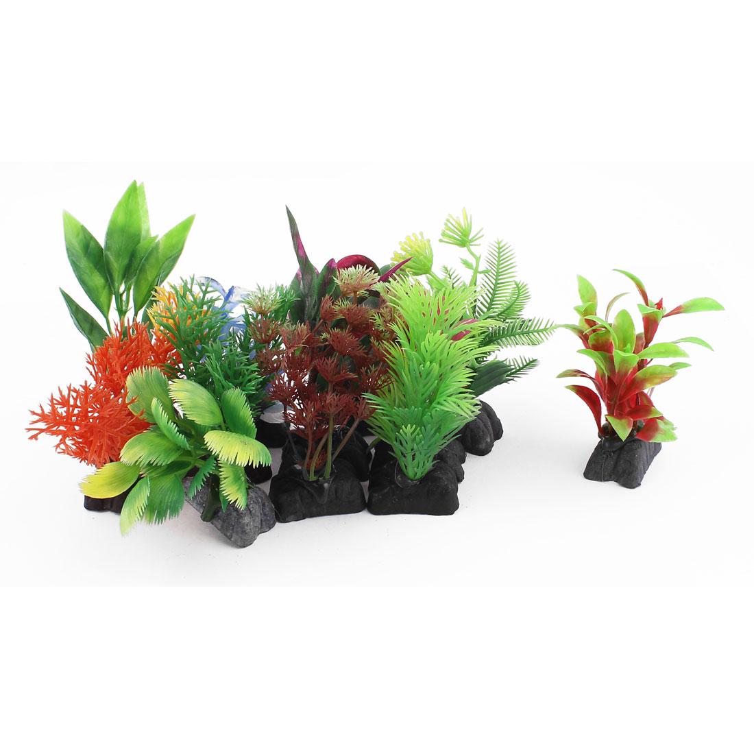 12pcs Assorted Color Plastic Ceramic Base Aquarium Plant Grass Decor for Fishbowl Fish Tank