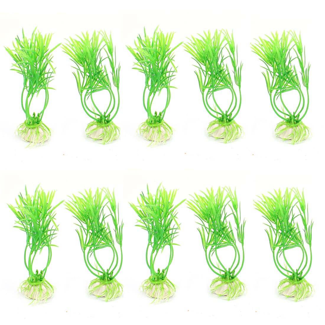 10pcs 12cm Height Green Plastic Ceramic Base Aquarium Plant Grass Decor for Fishbowl Fish Tank