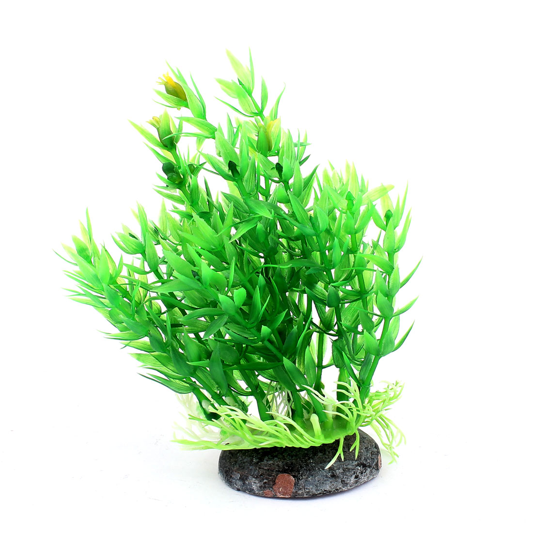 Green Plastic Ceramic Base Aquarium Plant Aquatic Grass Decor for Fishbowl Fish Tank