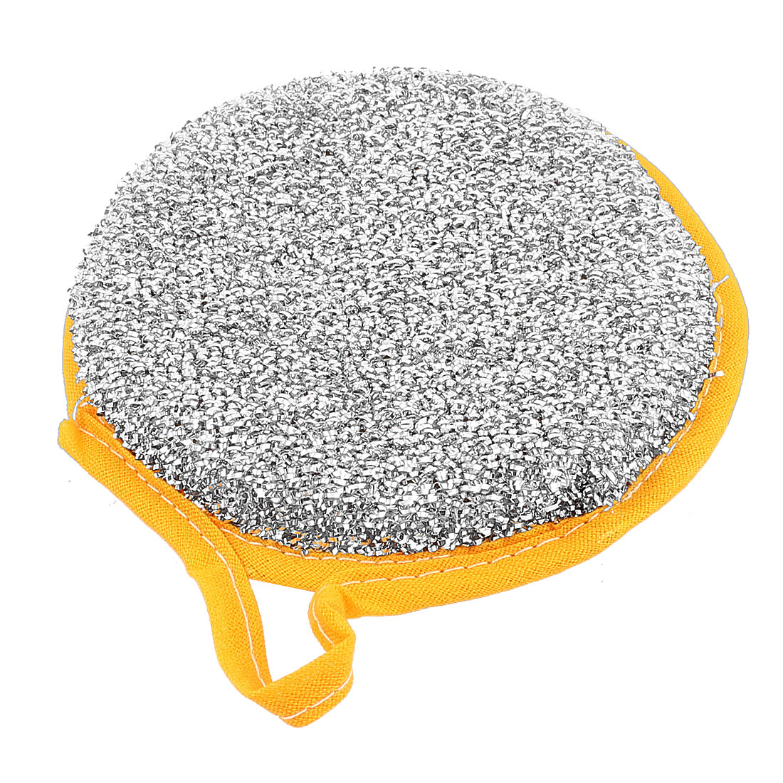 Yellow Silver Tone Round Shape Double Sides Bowl Dish Scrubber Scrub Pad Sponge Cleaning Tool