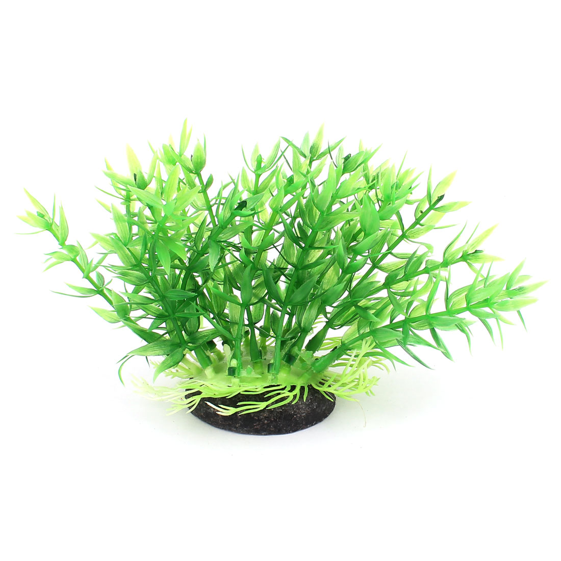Green Plastic Ceramic Base Artificial Aquarium Plant Aquatic Grass Decor for Fishbowl Fish Tank