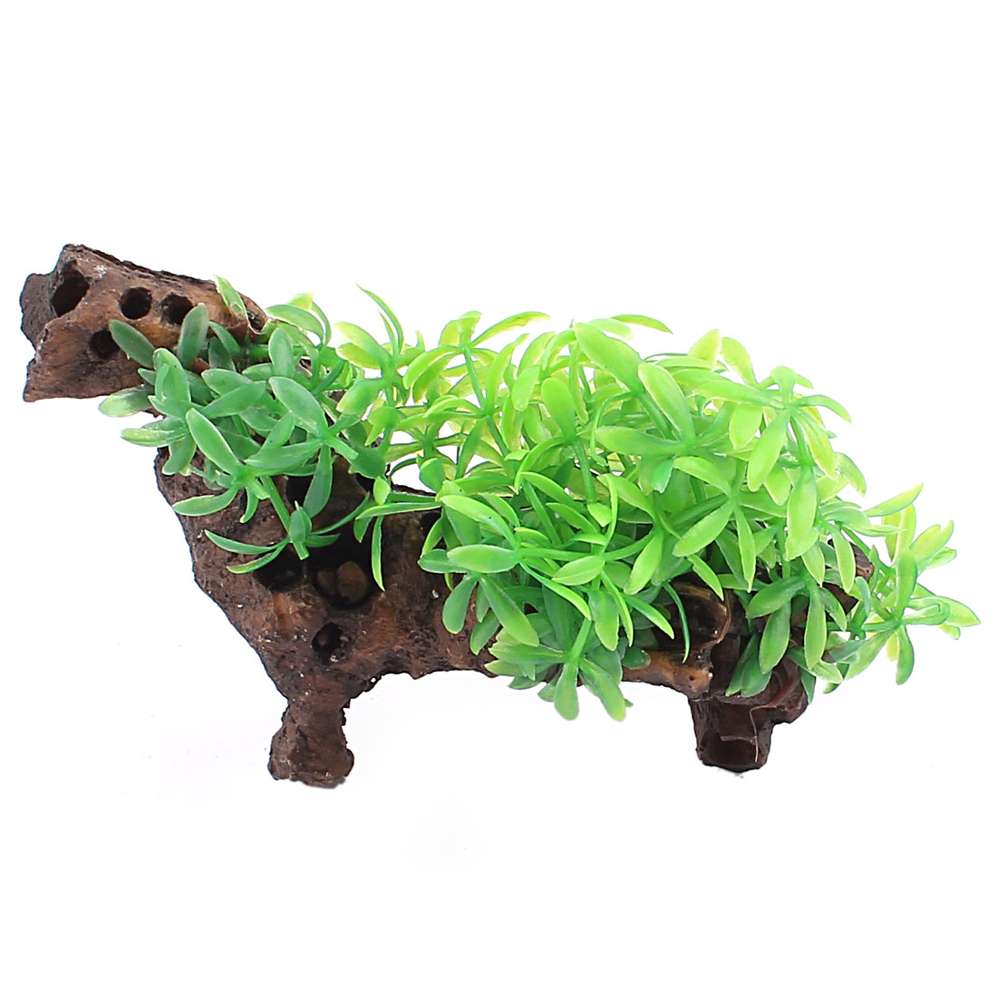 Green Brown Plastic Emulational Aquarium Plant Aquatic Grass Decor for Fishbowl Fish Tank