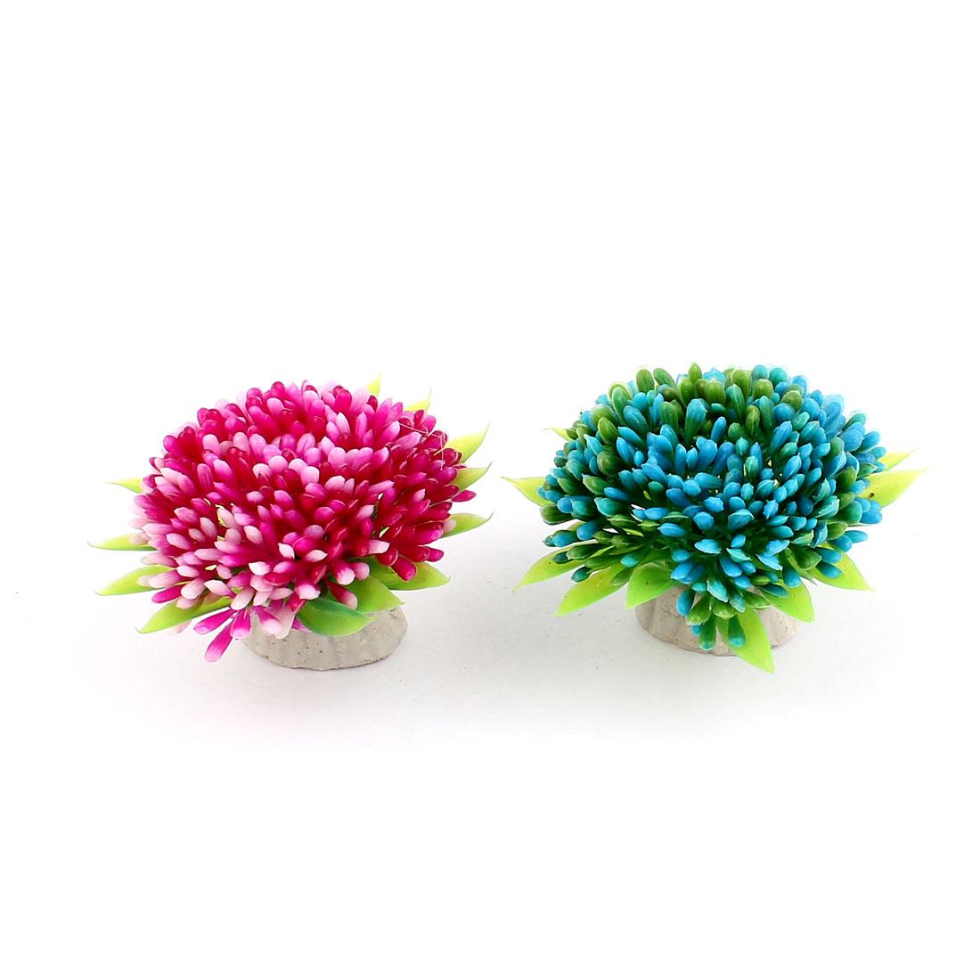 2pcs Blue Purple Plastic Artificial Aquarium Flower Underwater Plant Ornament for Fishbowl Fish Tank