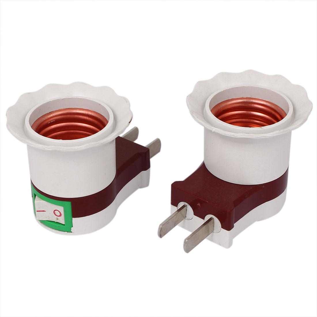 AU US Plug Screw Type E27 Bulb Base Lamp Holder Socket Adapter 2pcs