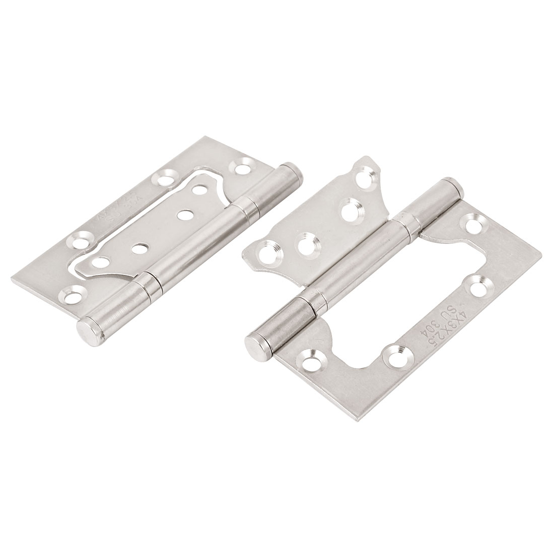 "Furniture Windows Cabinet 4"" Long Metal Door Butt Hinges Hardware Silver Tone 2pcs"