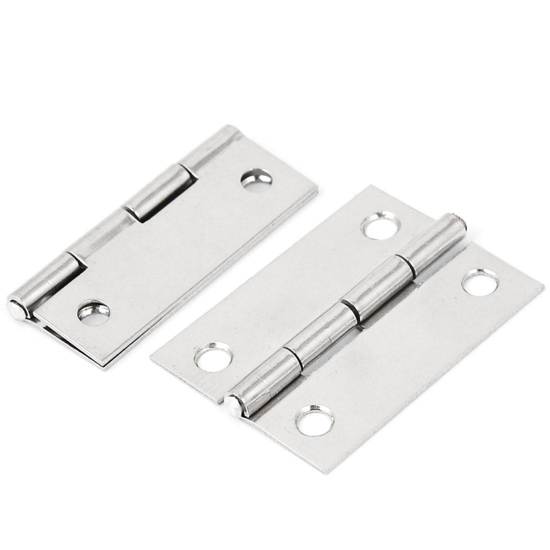 "2"" Length Stainless Steel Rectangular Folding Closet Cabinet Door Butt Hinge 2pcs"