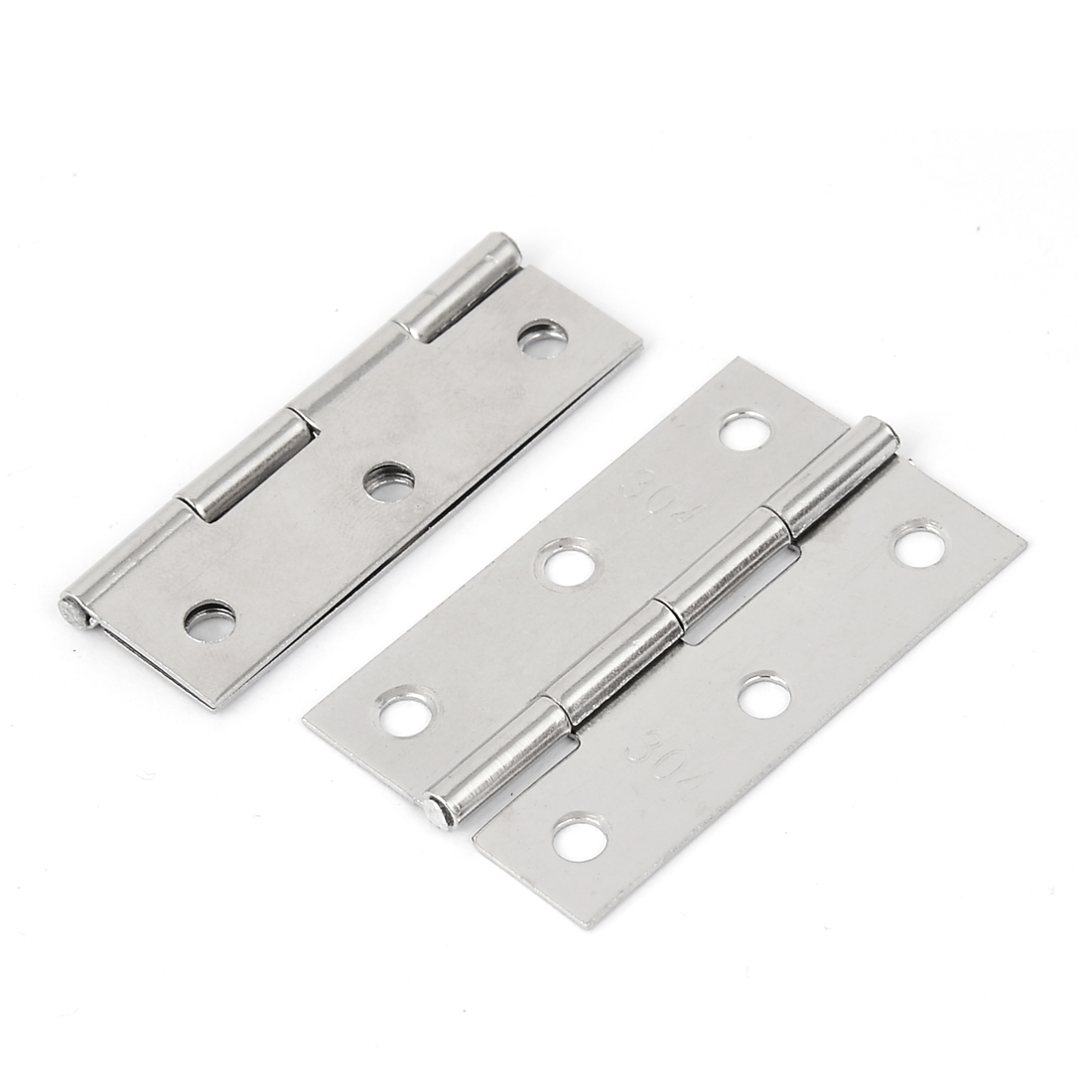 "Home Drawer 2.5"" long Stainless Steel Door Butt Hinges Hardware Silver Tone 2pcs"