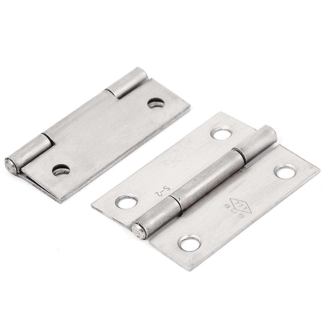 53mmx38mm Stainless Steel Rectangular Folding Closet Cabinet Door Butt Hinge 2pcs