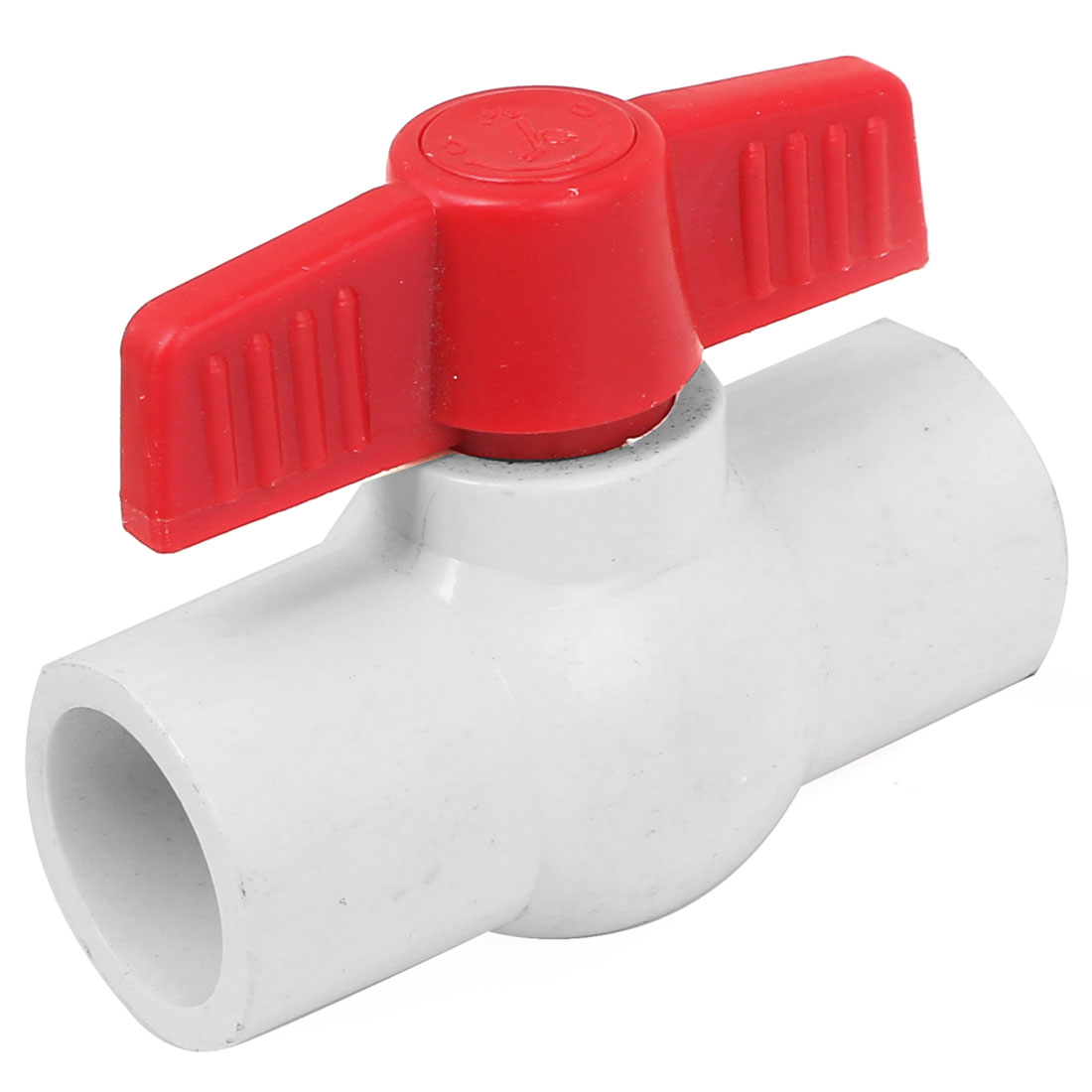 2 Ways Water Shut Off PVC Slip Ends Red T Handle Ball Valve White
