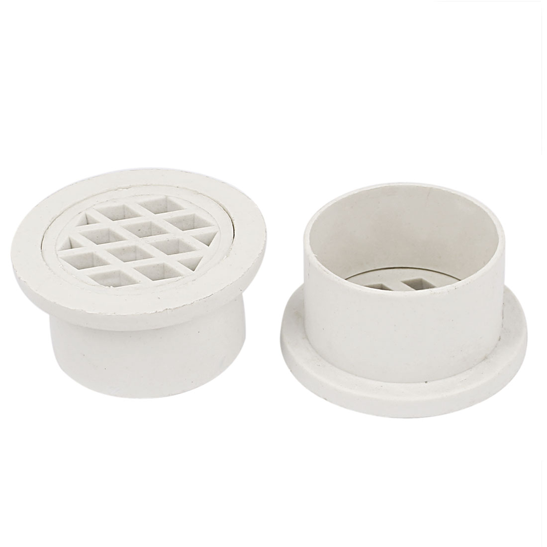 Basement Toilet White PVC Round Strainer Floor Drain Cover 2pcs