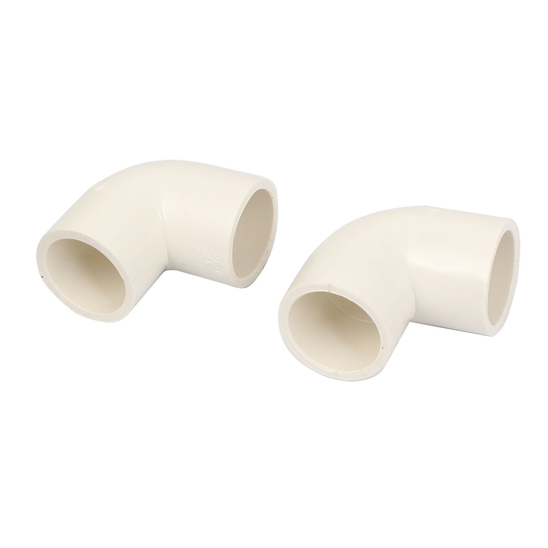 90 Degree Elbow Type PVC-U Pipe Connector Adapter Fitting White 2pcs