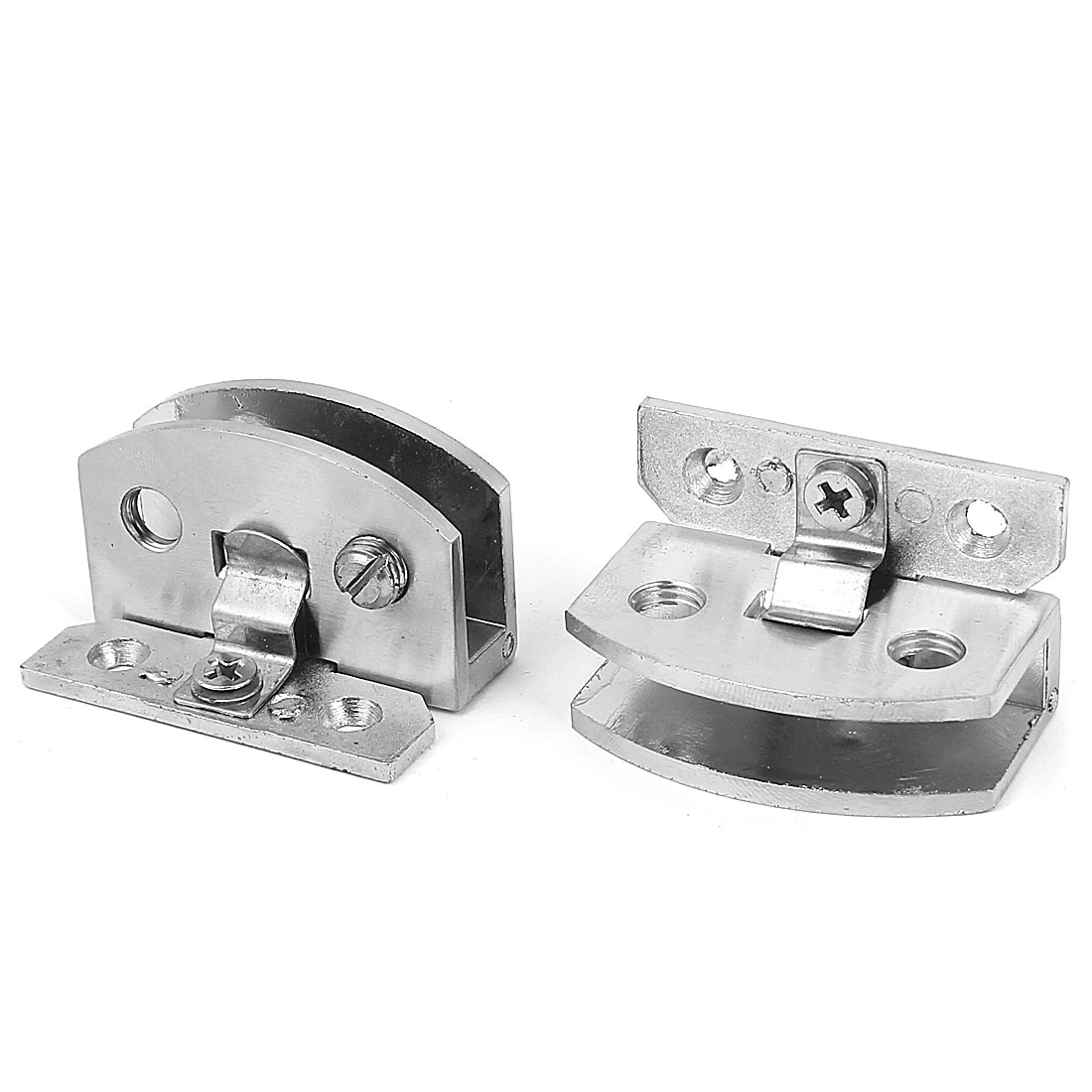 Adjustable 6mm-8mm Thick Glass Bathroom Shower Door Hinge Rectangle Clamp Clip 2pcs