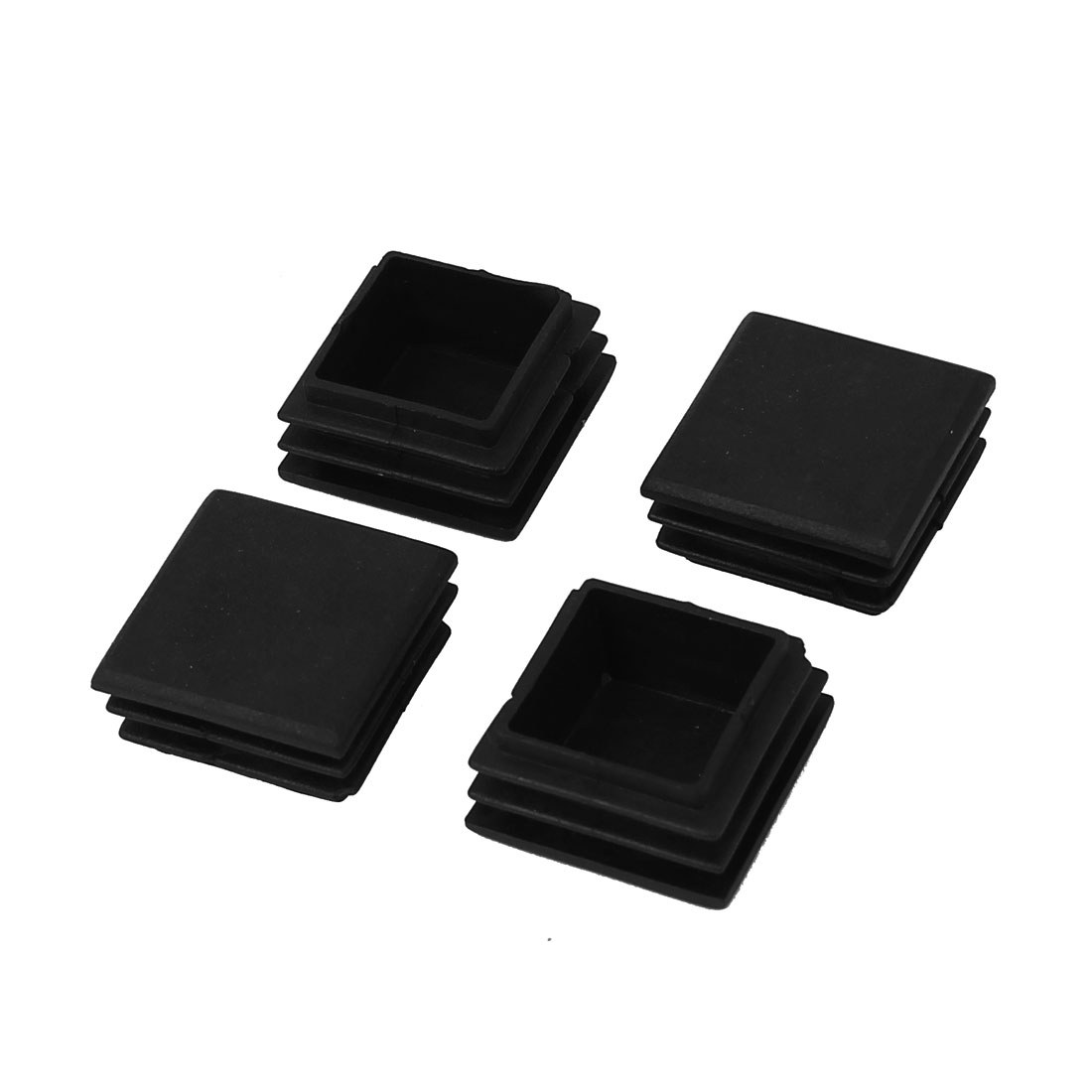 30mm x 30mm Plastic Square Shape Designed Tube Hole Connector Black 4pcs