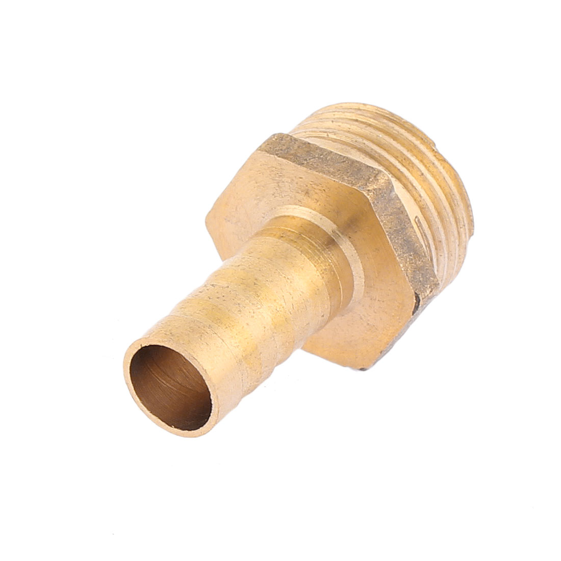 34mm Total Length 10mm Fuel Gas Hose Barb to 20mm Male Thread Straight Coupling Fitting Gold Tone