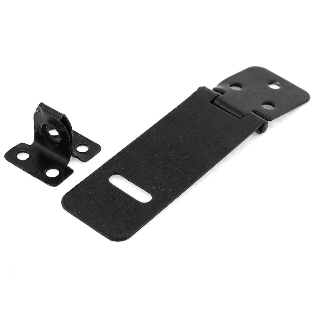 Cabinet Cupboad Gates Door Metal Padlock Latch Hasp Staple Black Set w Screws