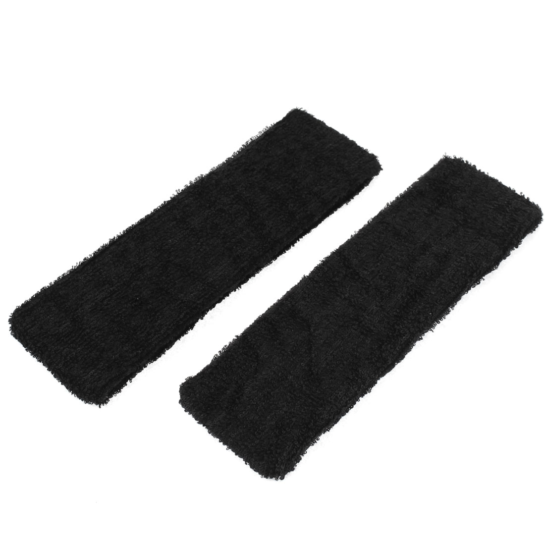 2 Pcs Black Terry Spandex Sports Basketball Elastic Hairband Headband Sweatband Head Sweat Band Brace