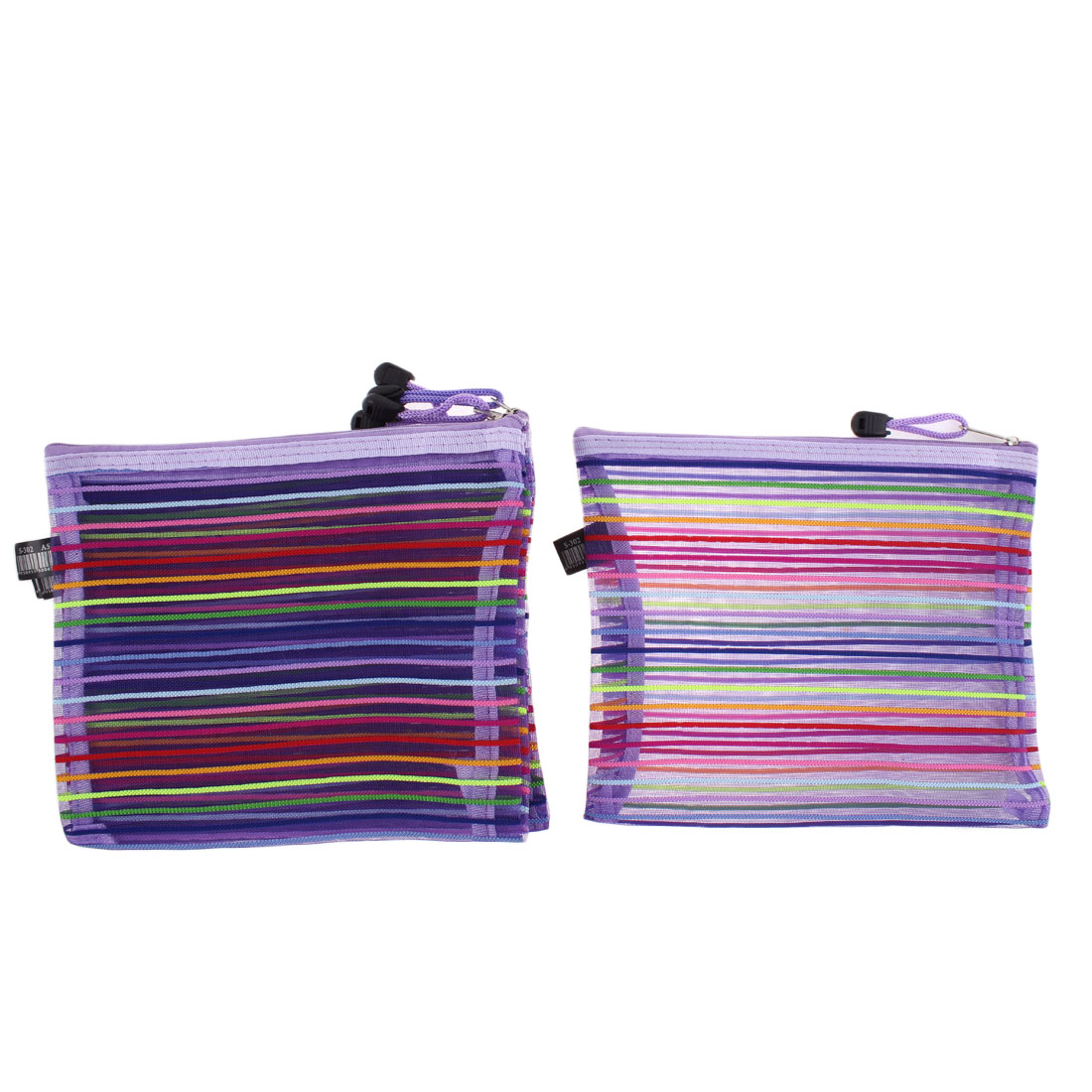 Meshy Style Stripes Pattern Zip Up A5 Paper Document File Pen Bags Holder 5 Pcs