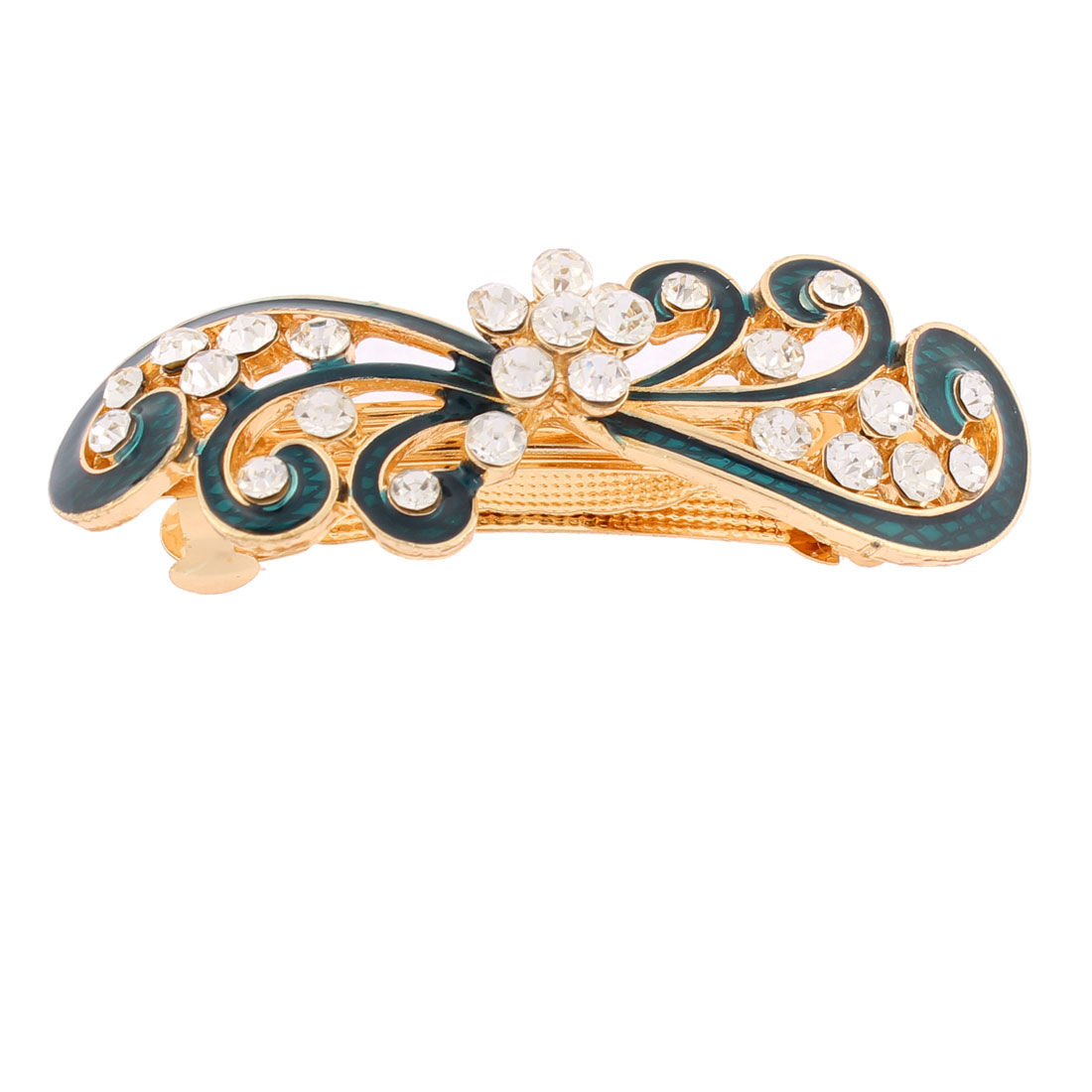 Women Plastic Rhinestones Inlaid Green Floral Accent French Barrette Style Metal Hair Clip Hairpin Decor Gold Tone