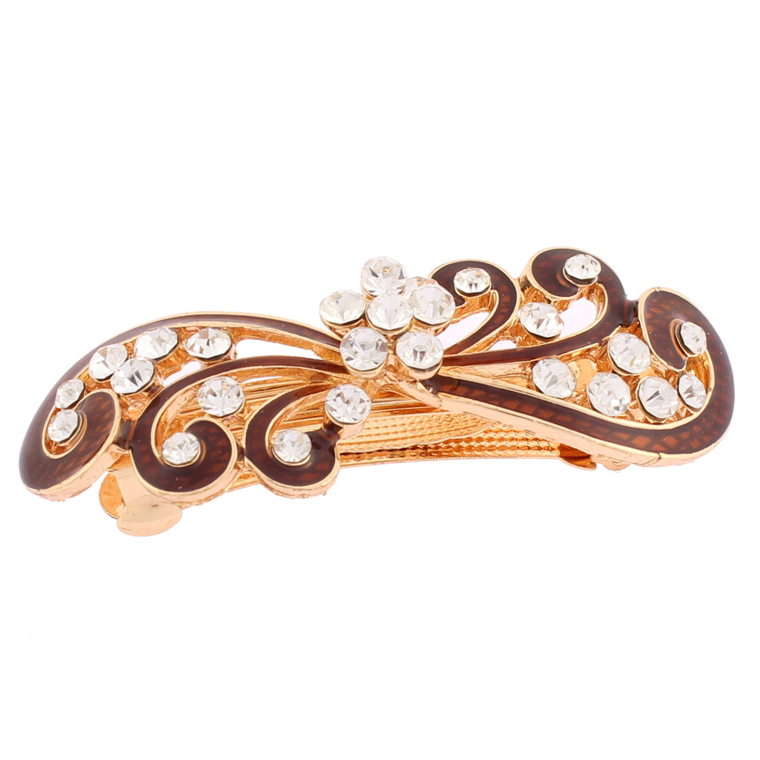 Women Plastic Rhinestones Inlaid Brown Floral Accent French Barrette Style Metal Hair Clip Hairpin Decor Gold Tone