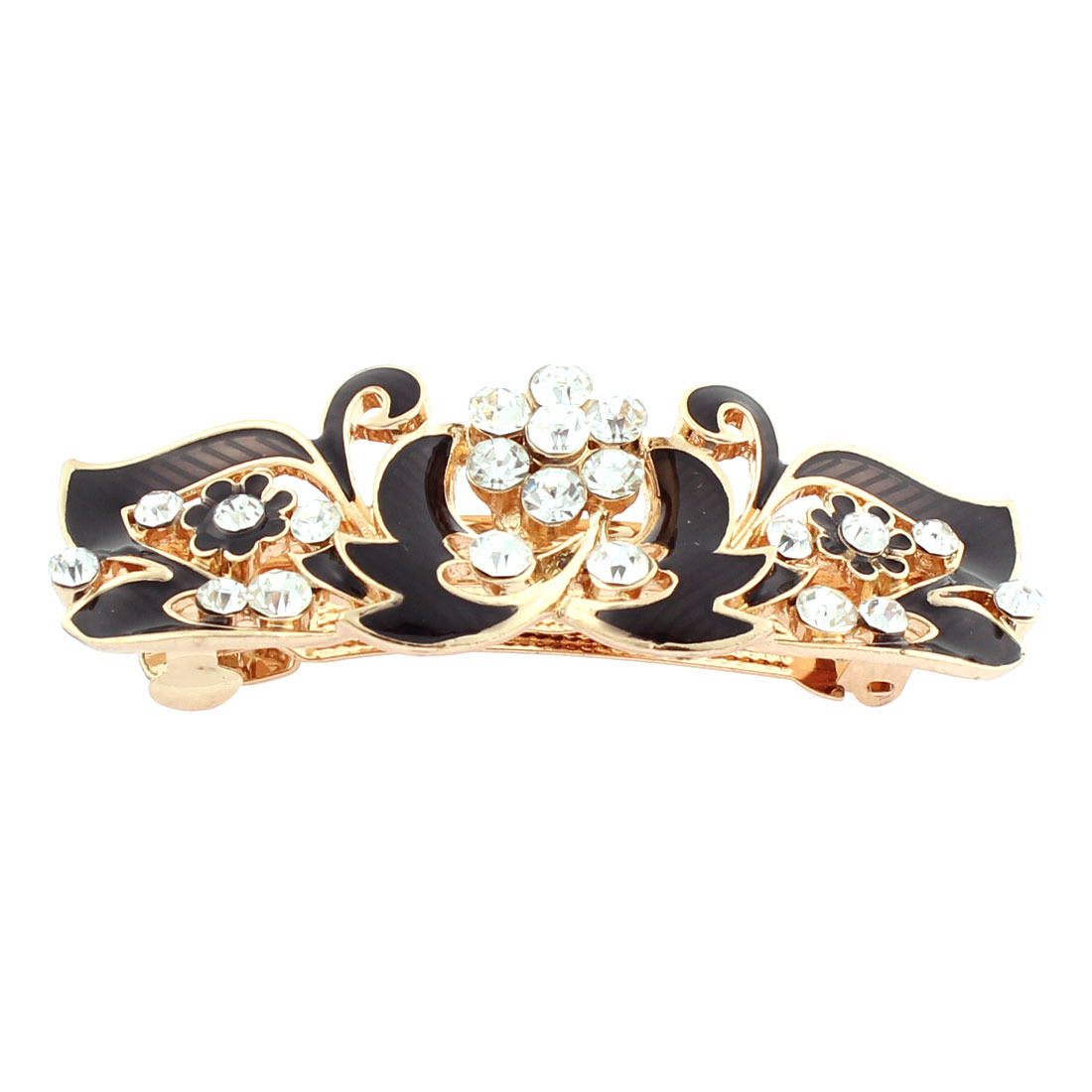 Women Plastic Rhinestone Inlaid Flower Accent French Barrette Style Metal Hair Clip Hairpin Gold Tone Black
