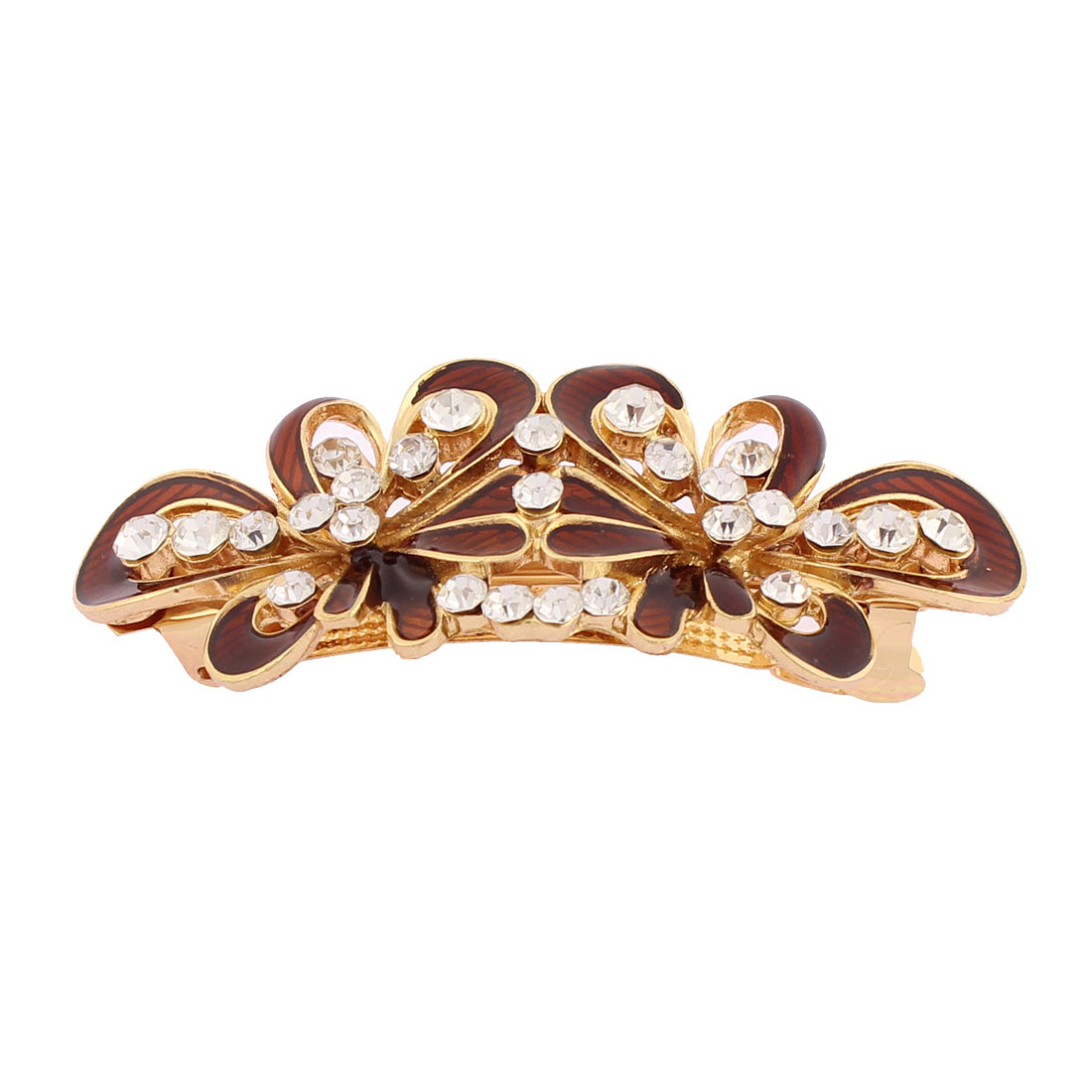 Women Plastic Rhinestone Inlaid Flower Design French Barrette Style Metal Hair Clip Hairpin Gold Tone Brown