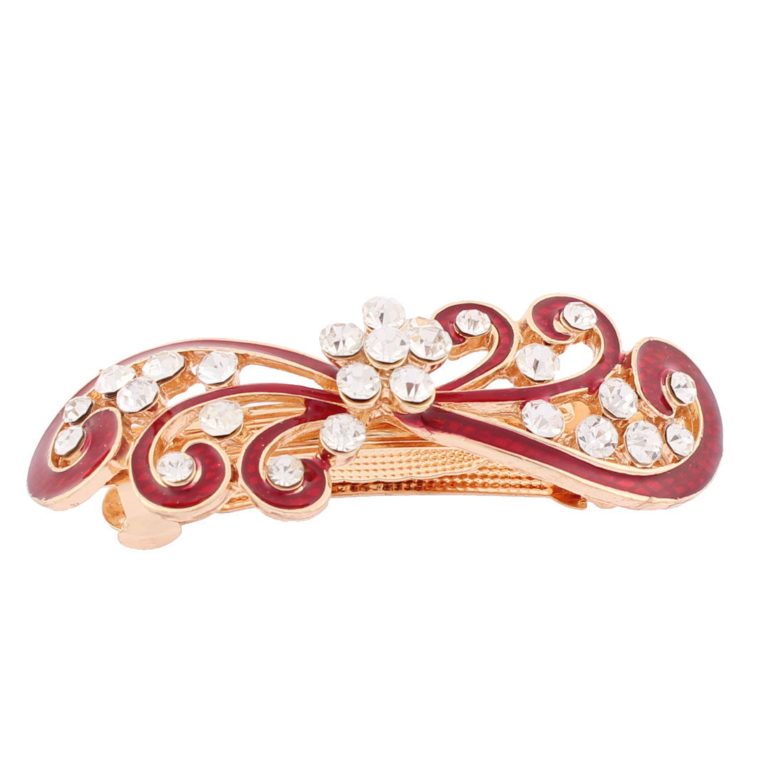 Women Plastic Rhinestones Inlaid Red Floral Accent French Barrette Style Metal Hair Clip Hairpin Decor Gold Tone