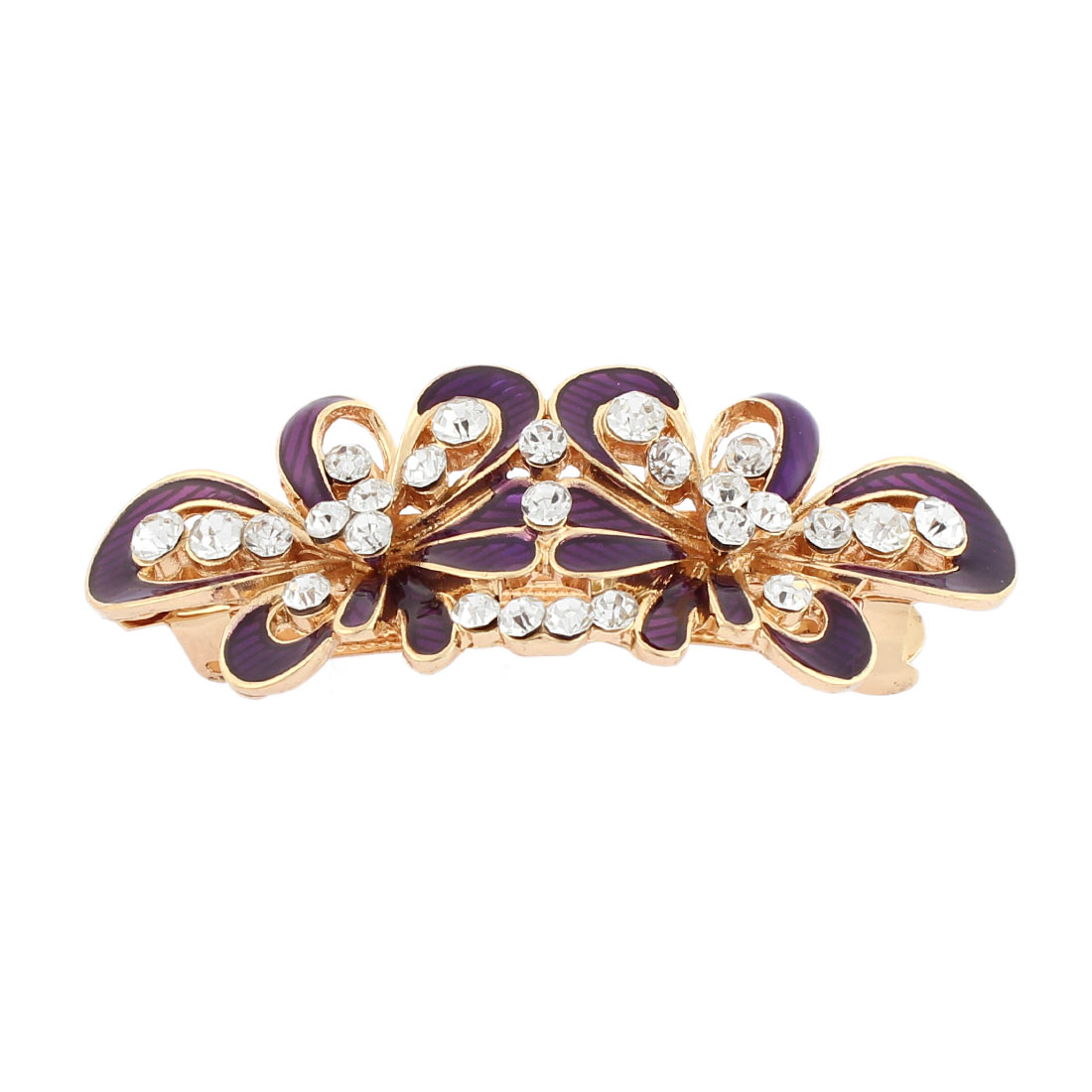 Women Plastic Rhinestone Inlaid Flower Design French Barrette Style Metal Hair Clip Hairpin Gold Tone Purple