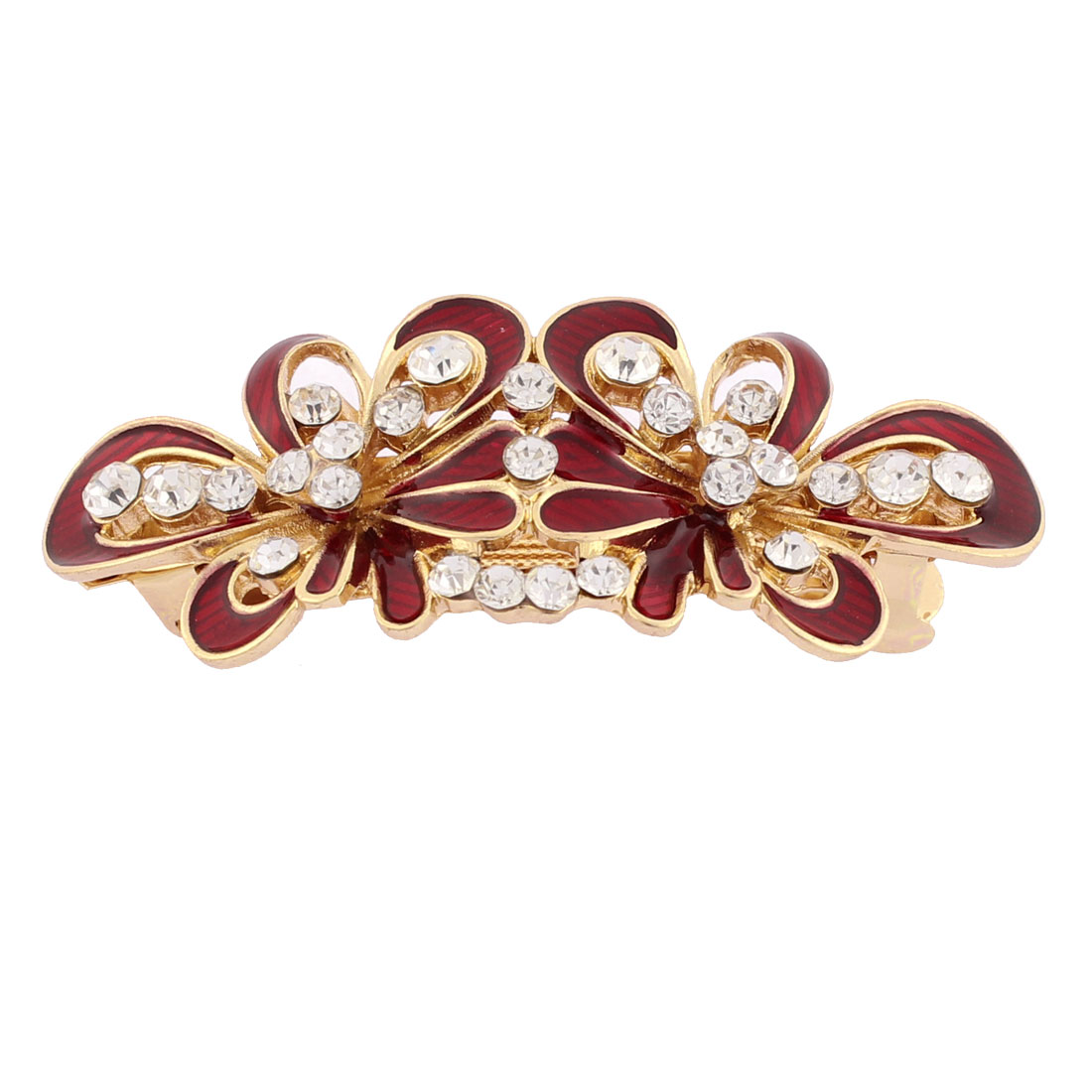 Women Plastic Rhinestone Inlaid Flower Design French Barrette Style Metal Hair Clip Hairpin Gold Tone Red