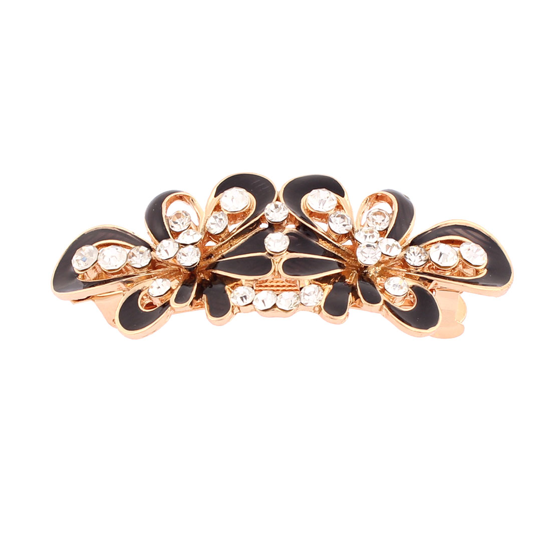 Women Plastic Rhinestone Inlaid Flower Design French Barrette Style Metal Hair Clip Hairpin Gold Tone Black